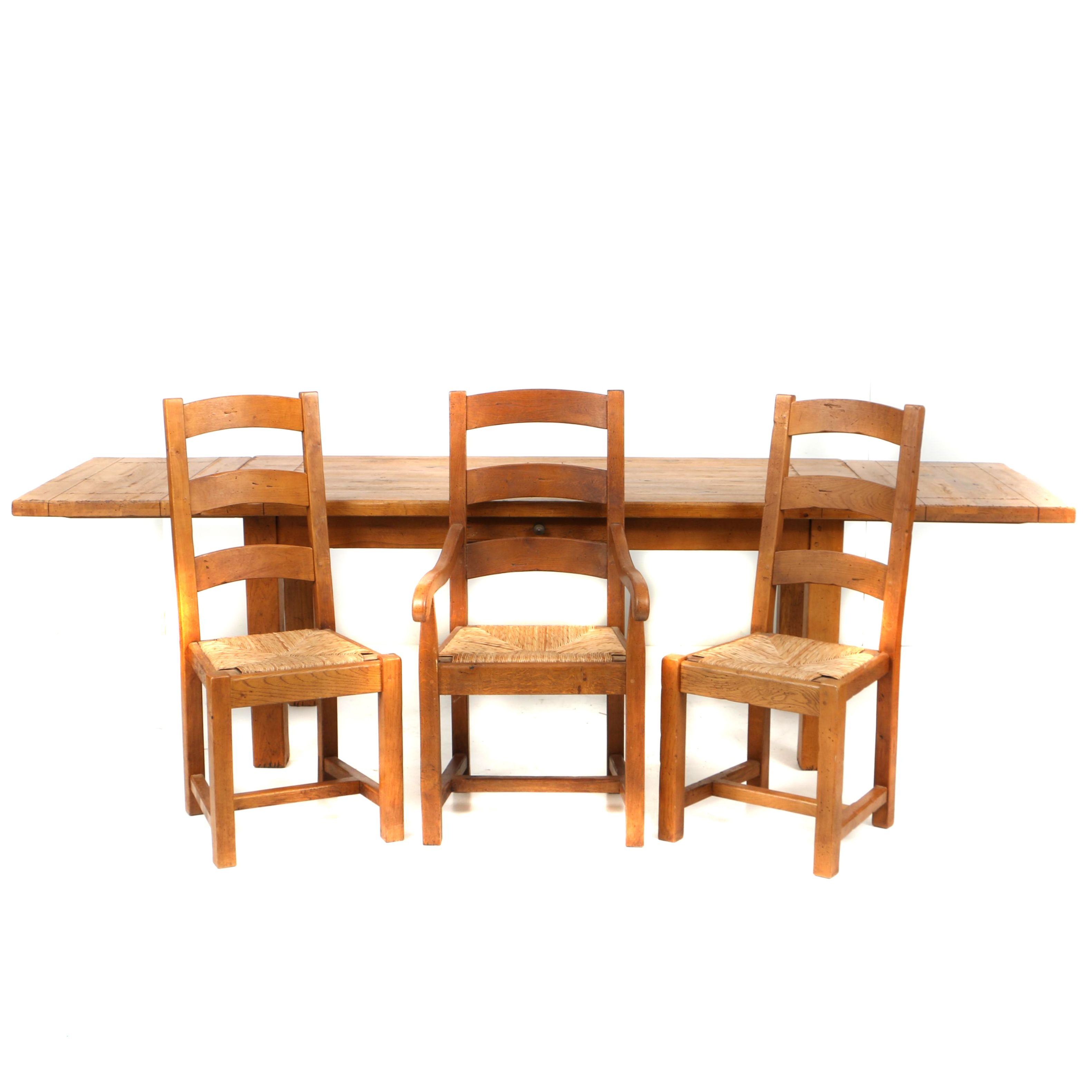 Vintage Provincial Style Oak Dining Table with Three Chairs