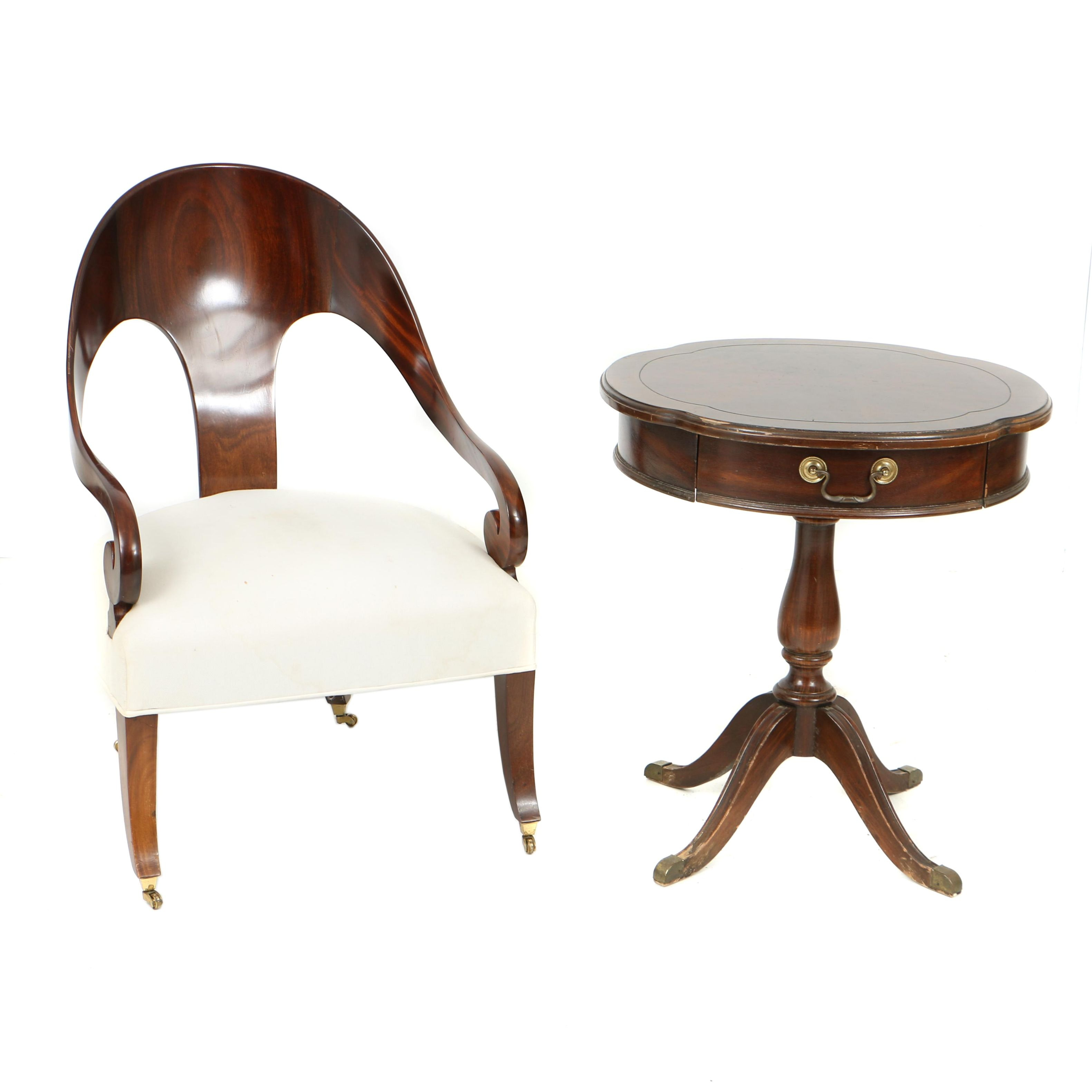Vintage Federal Style Side Table by Lane and Regency Style Spoonback Armchair