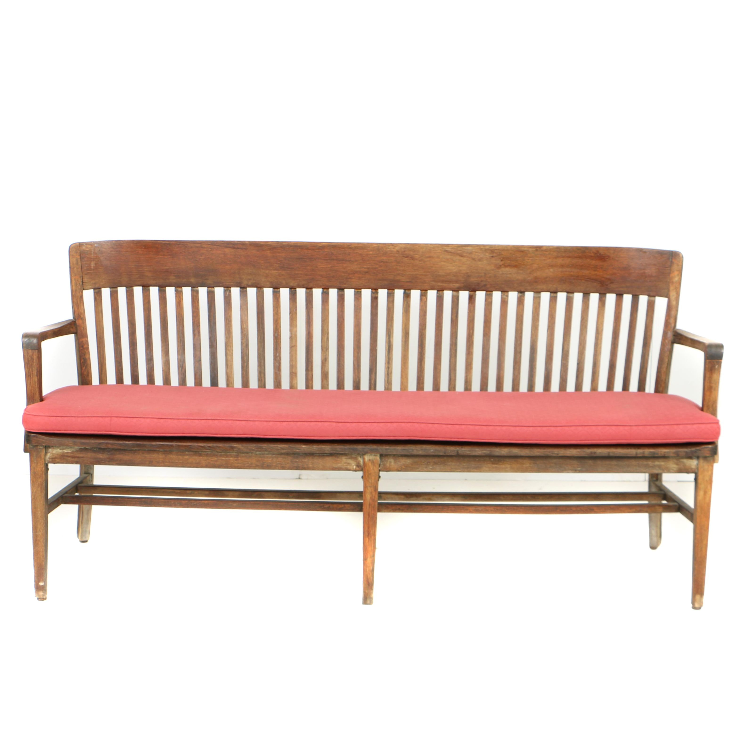 Vintage W.H. Gunlocke Chair Co. Oak Waiting Bench with Custom-Made Cushion