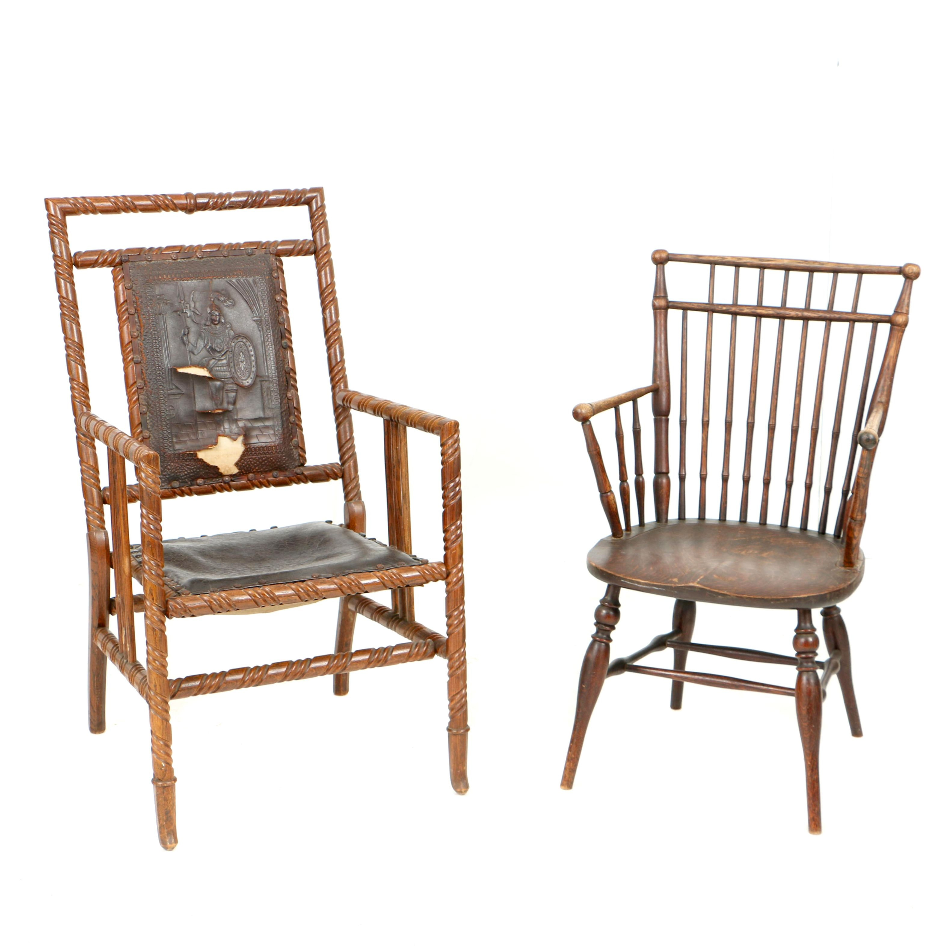 Early 20th Century Hunzinger-Style Armchair and Windsor Style Armchair
