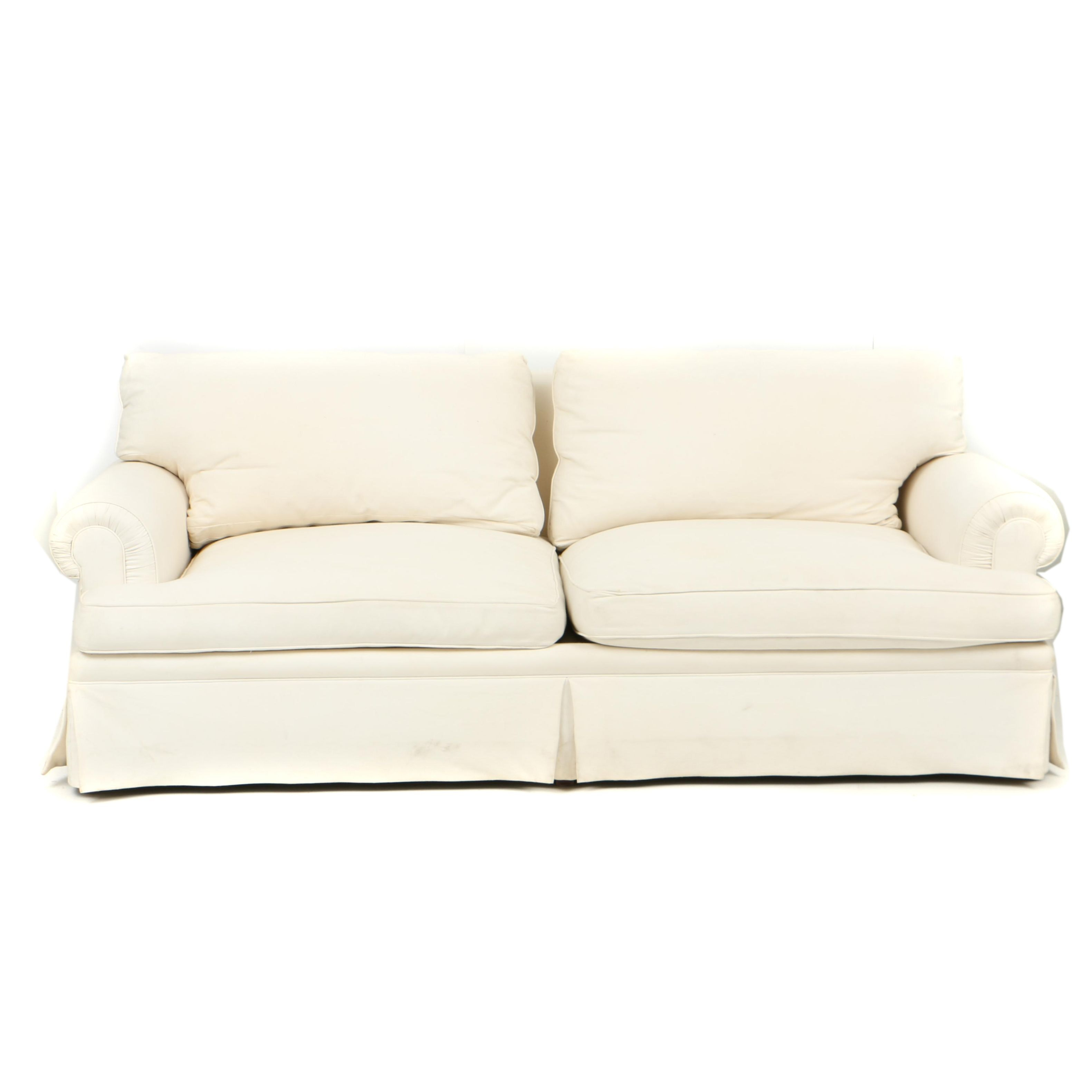 TRS Furniture Inc. White Sofa with Down-Filled Cushions
