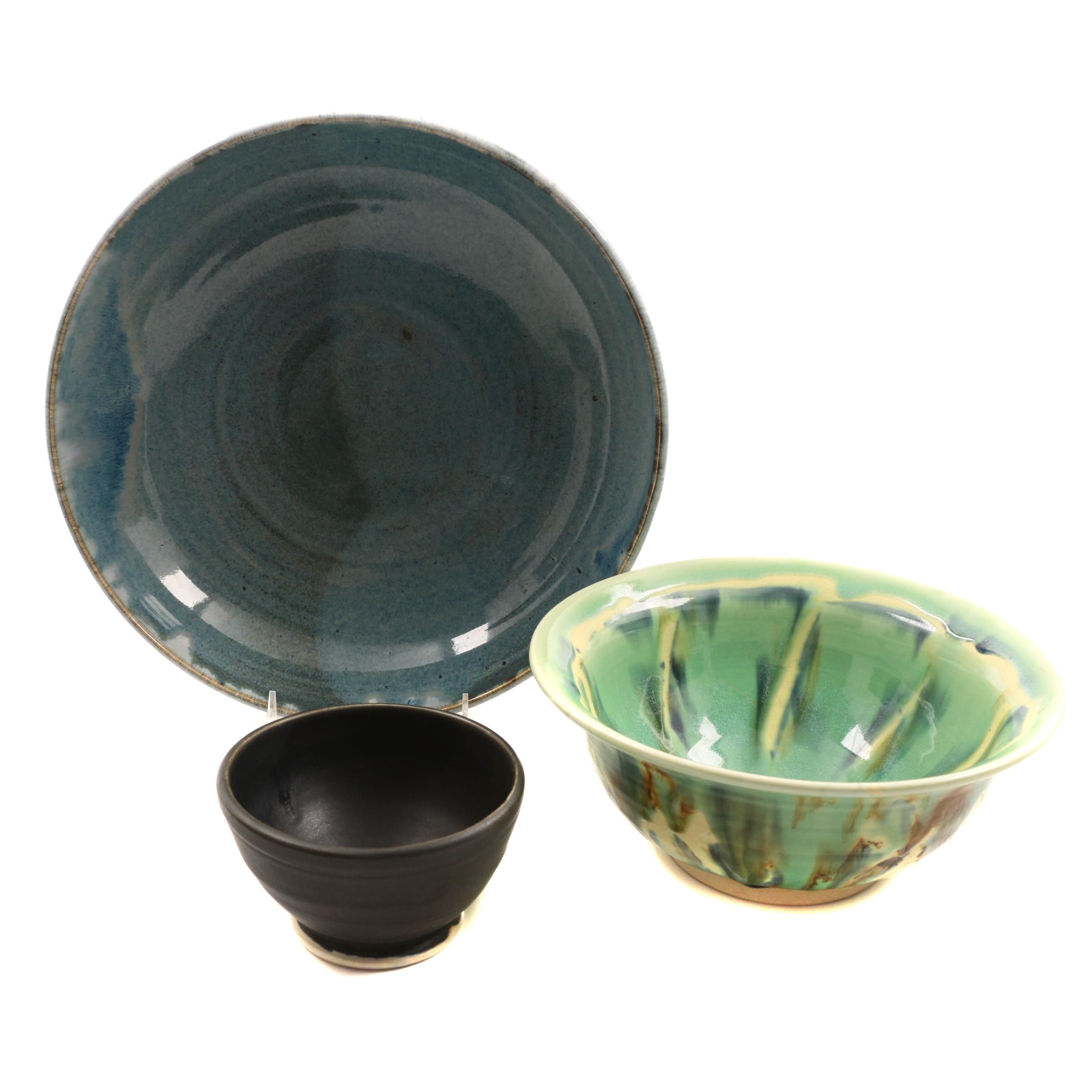 Signed Hand Thrown Stoneware Bowls