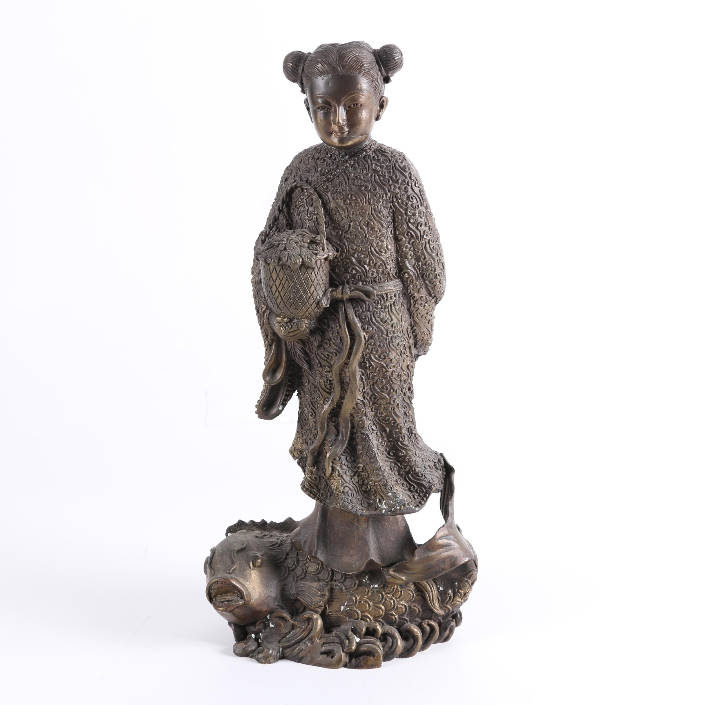 Chinese Cast Iron Statue of a Girl