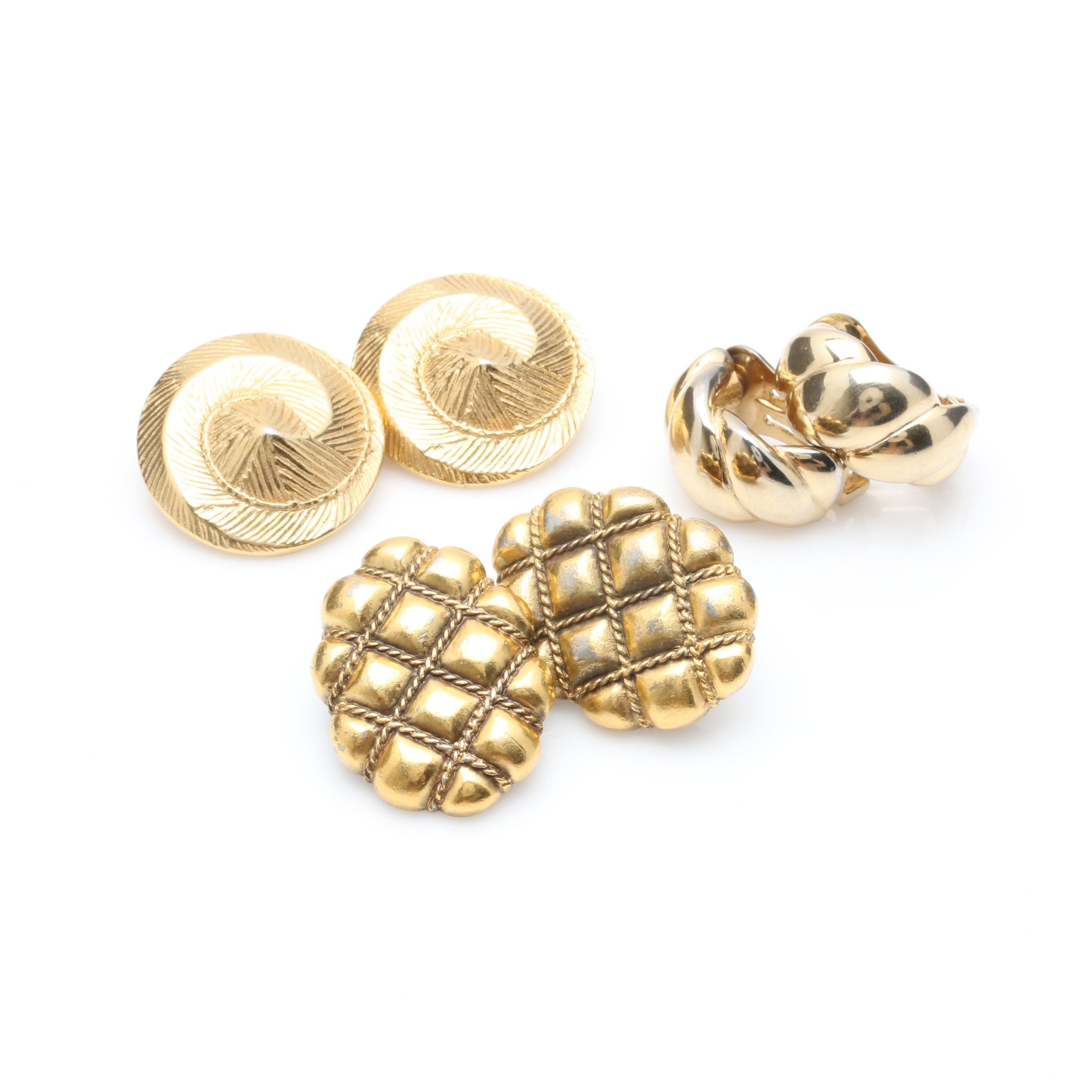 Gold Tone Designer Clip-on Earrings