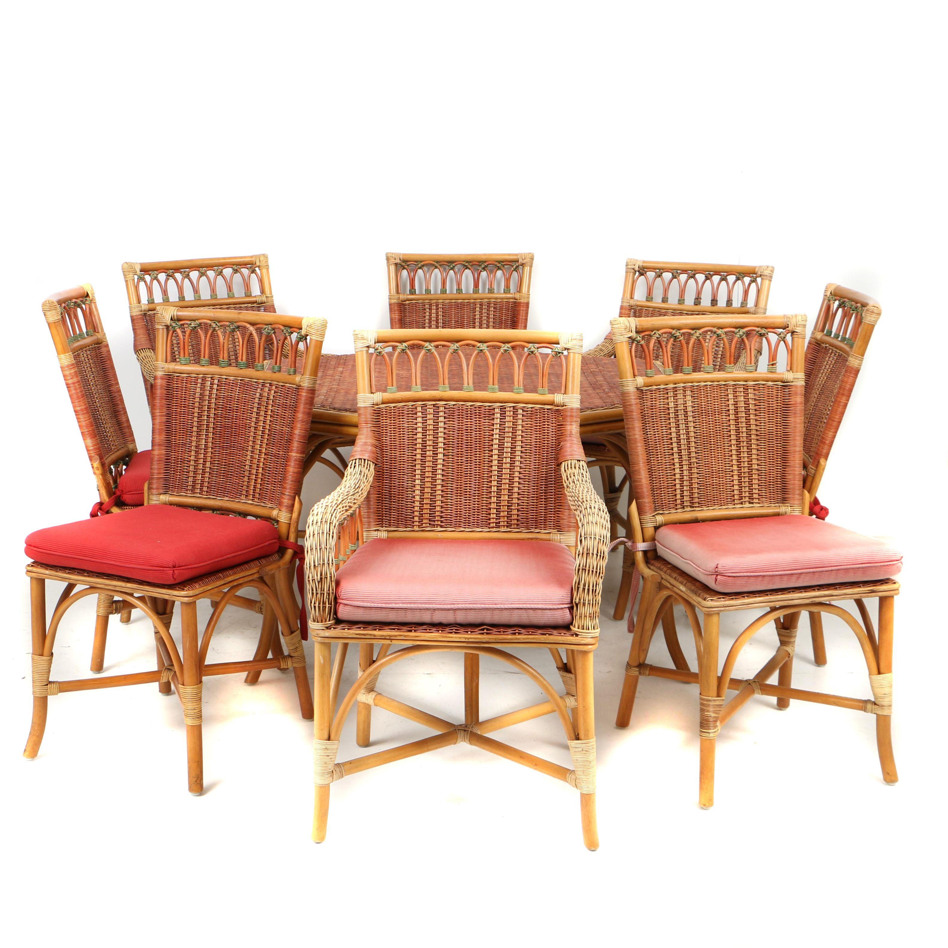 Vintage Wicker and Rattan Patio Dining Table with Eight Chairs EBTH