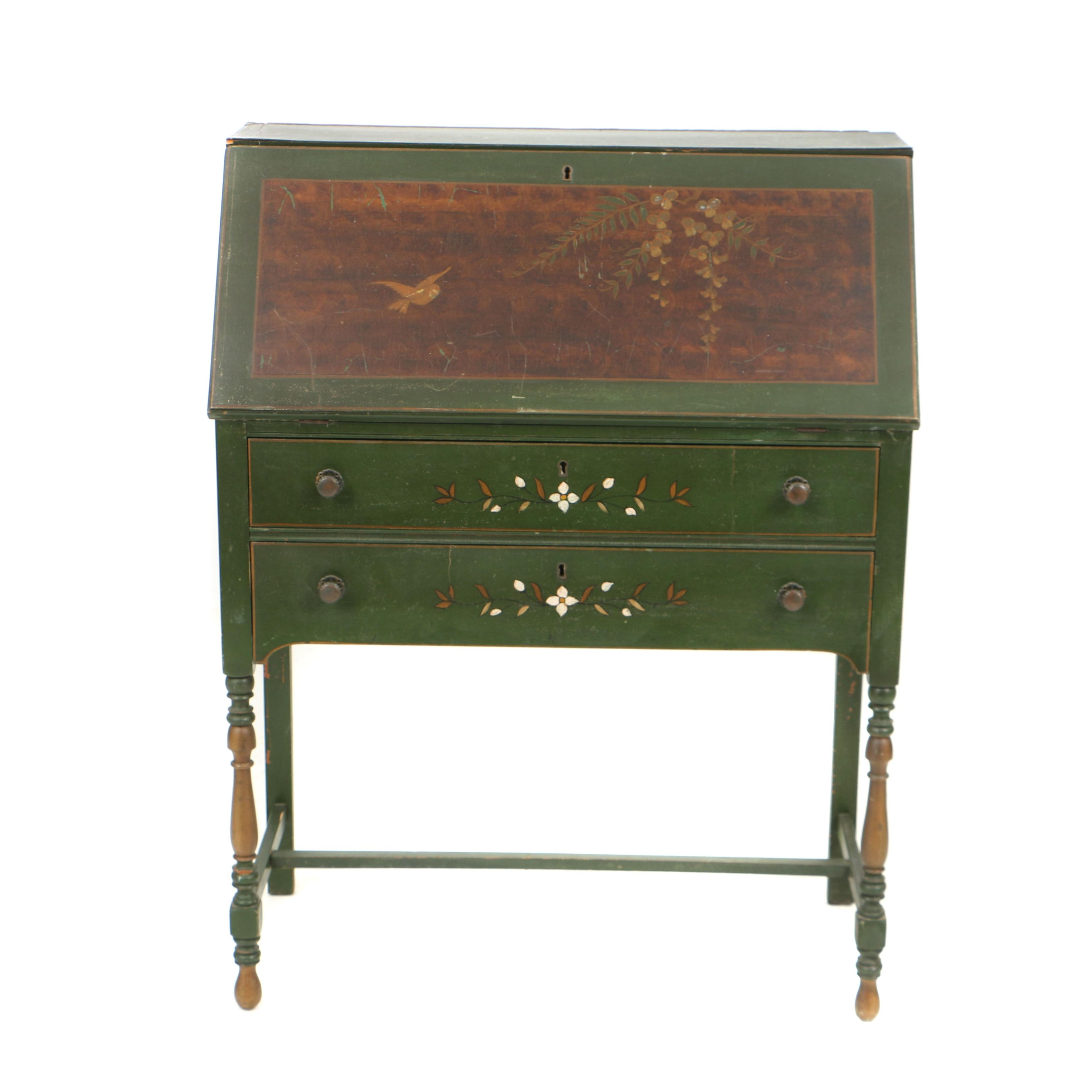 Vintage Chinoiserie-Decorated Slant-Front Desk in the William and Mary Style