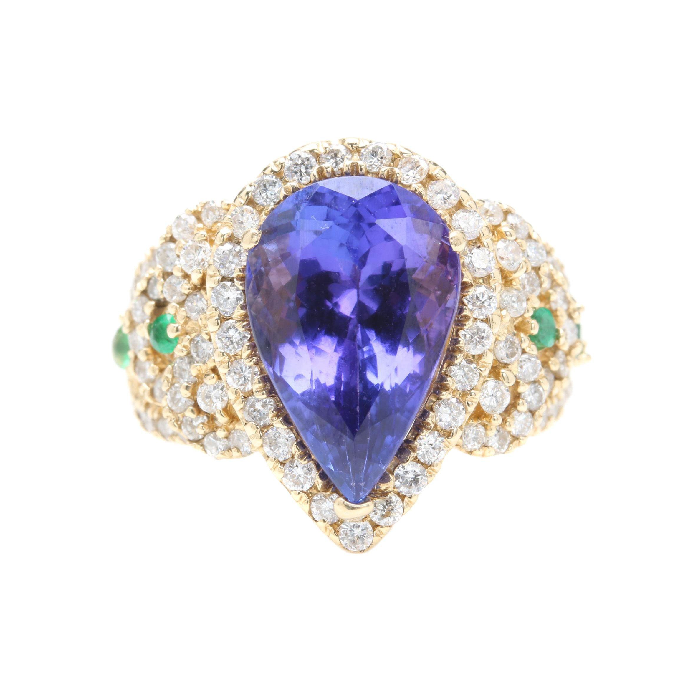 14K Yellow Gold 6.25 CT Tanzanite, Emerald, and 1.00 CTW Diamond Statement Ring