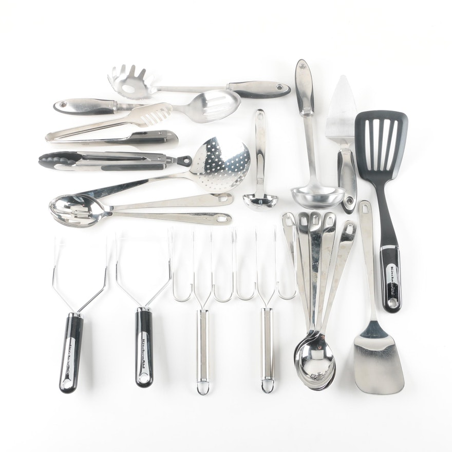 Stainless Steel Kitchen Utensil Assortment Including KitchenAid