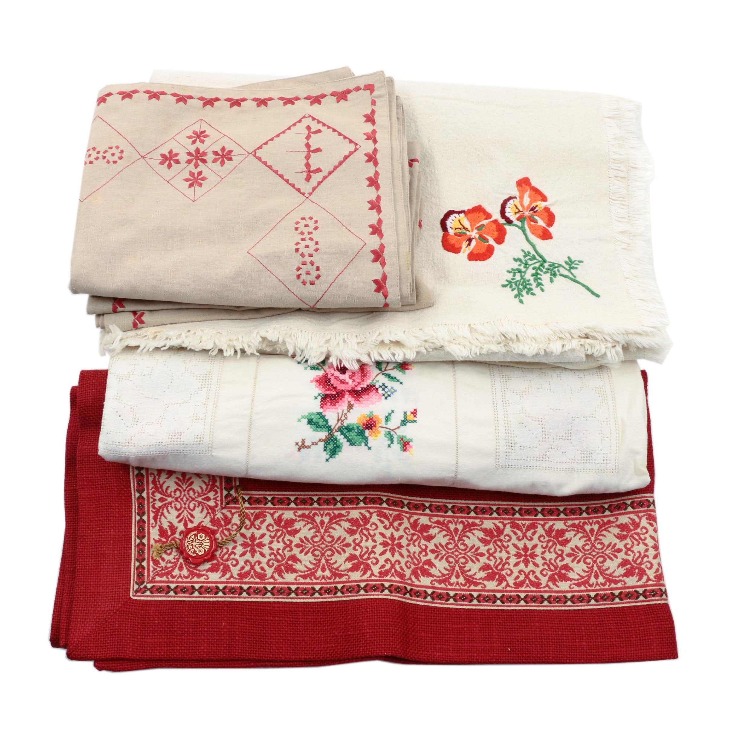 Assortment of Embroidered Textiles and Linens