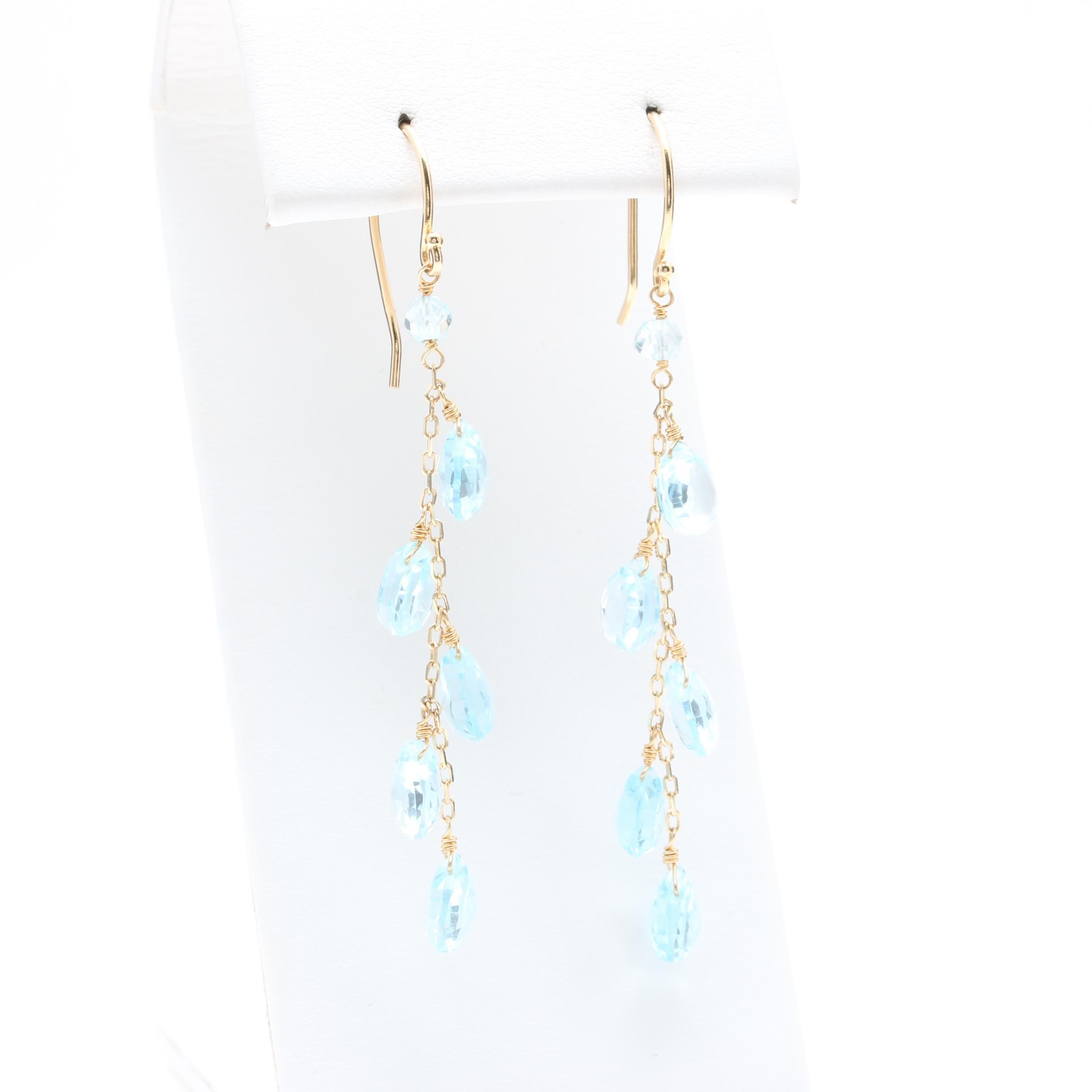 14K Yellow Gold Blue Topaz Drop Earrings