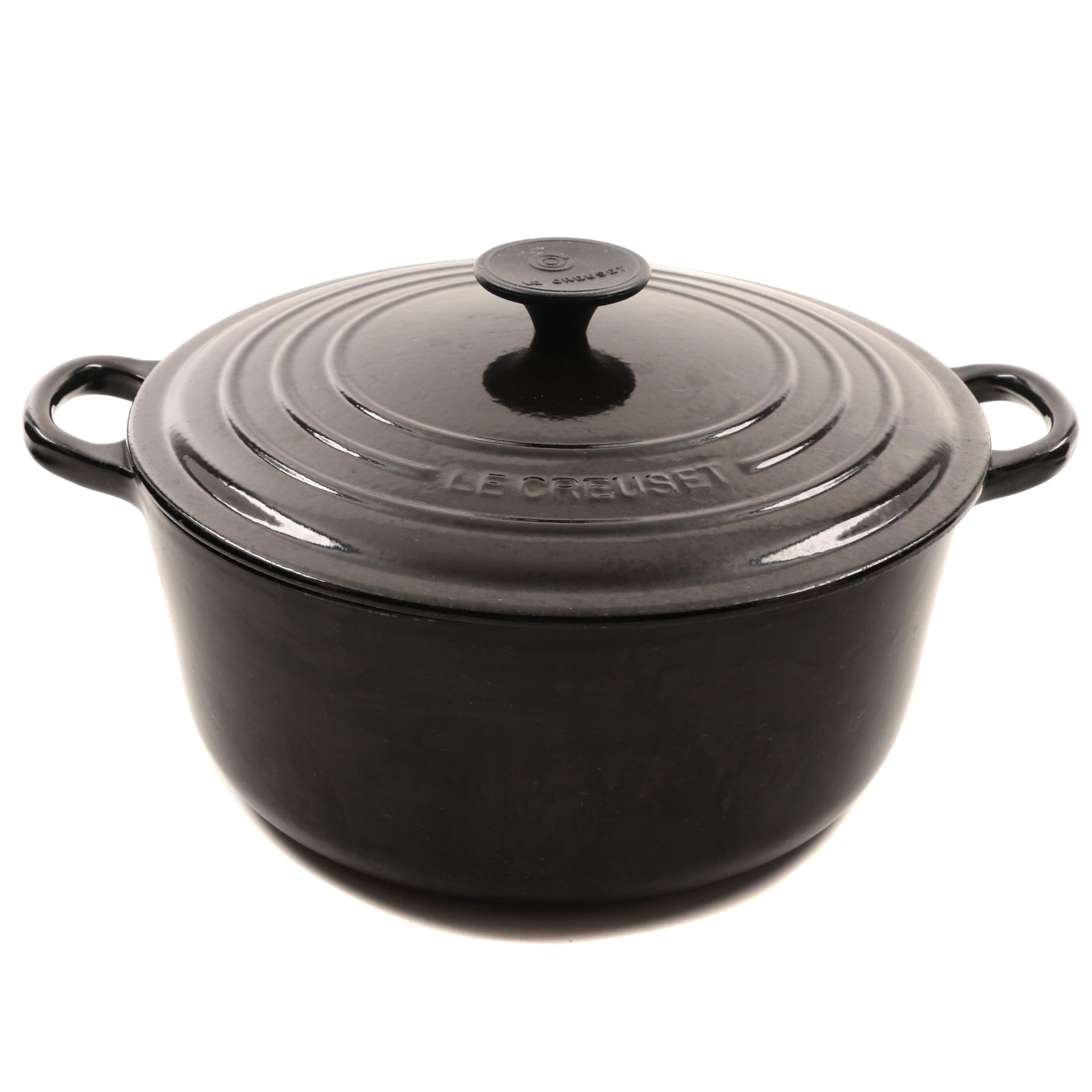 Le Creuset Black Enameled Cast Iron  5.50 Quart French Dutch Oven with Lid