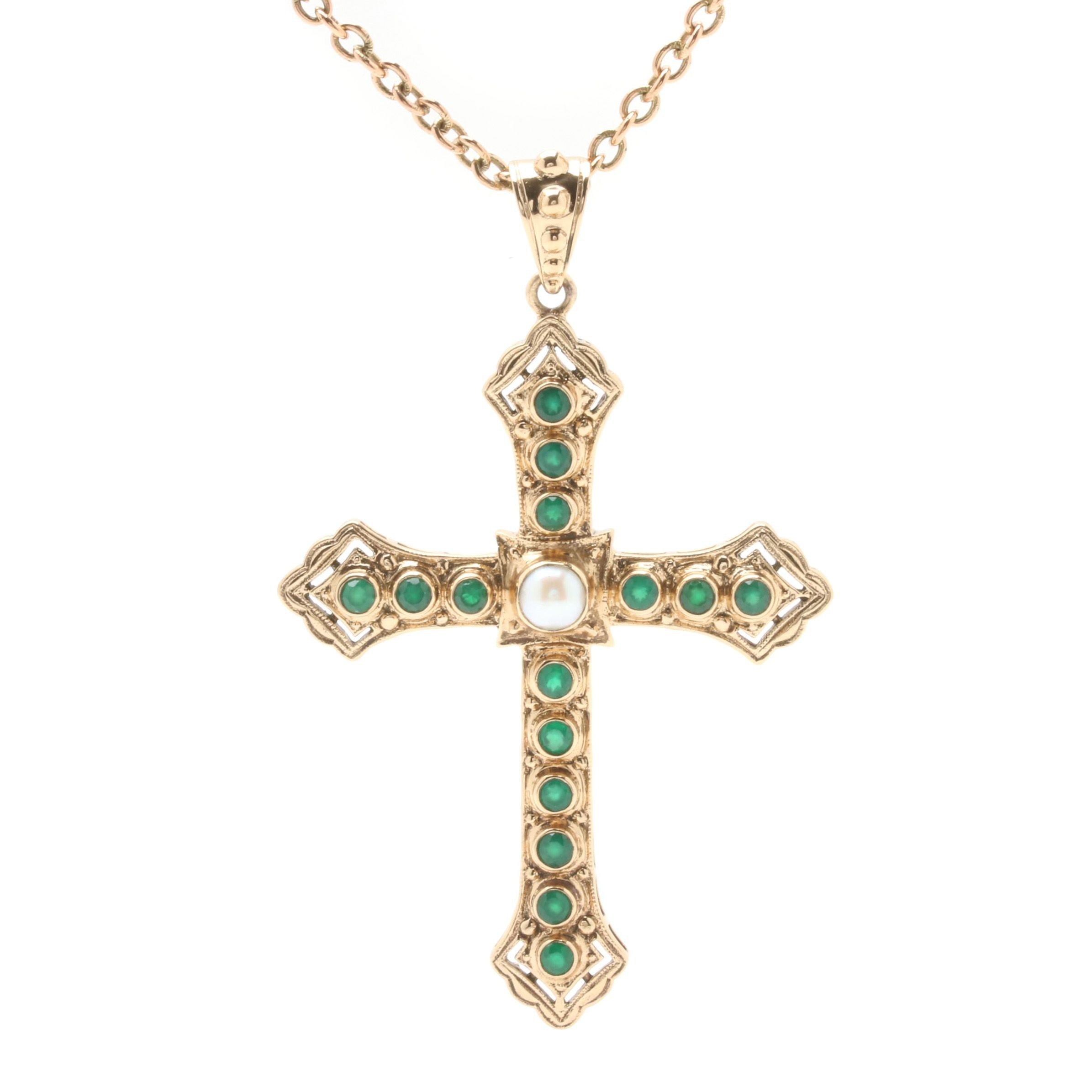 Nicky Butler Synthetic Emerald and Cultured Pearl Crux Gemmata Pendant Necklace