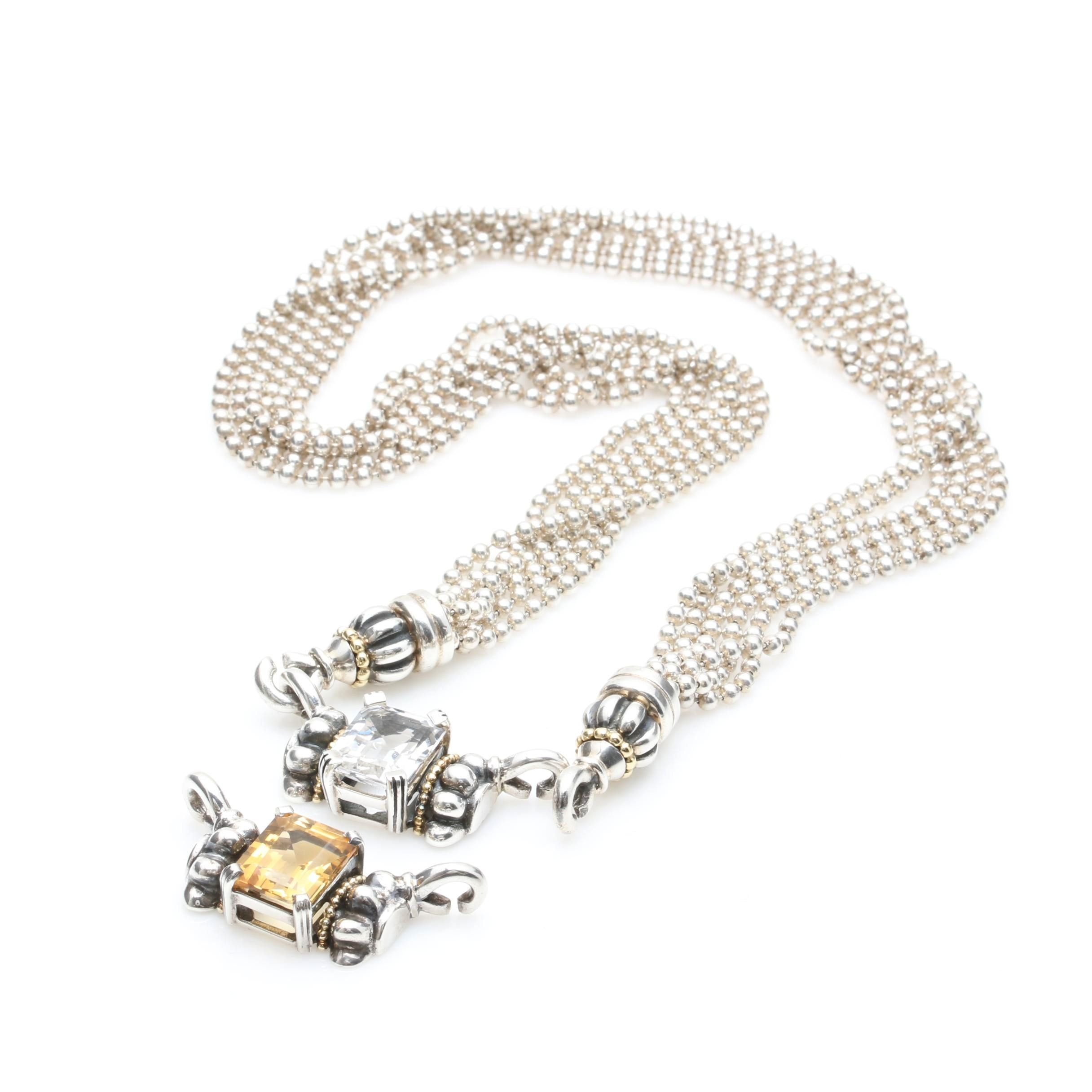 Lagos Caviar Sterling Silver Synthetic White Sapphire and Citrine Necklace