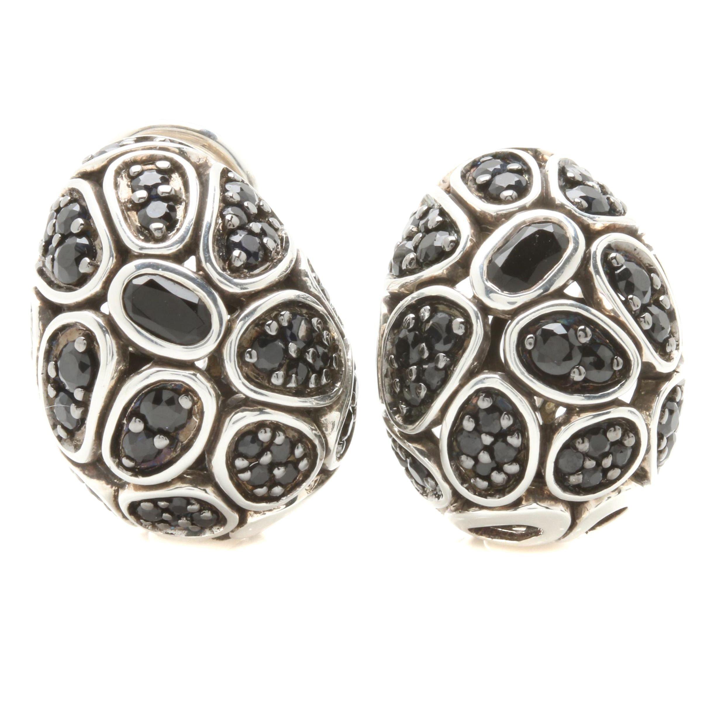John Hardy Sterling Silver Black Onyx and Black Sapphire Earrings