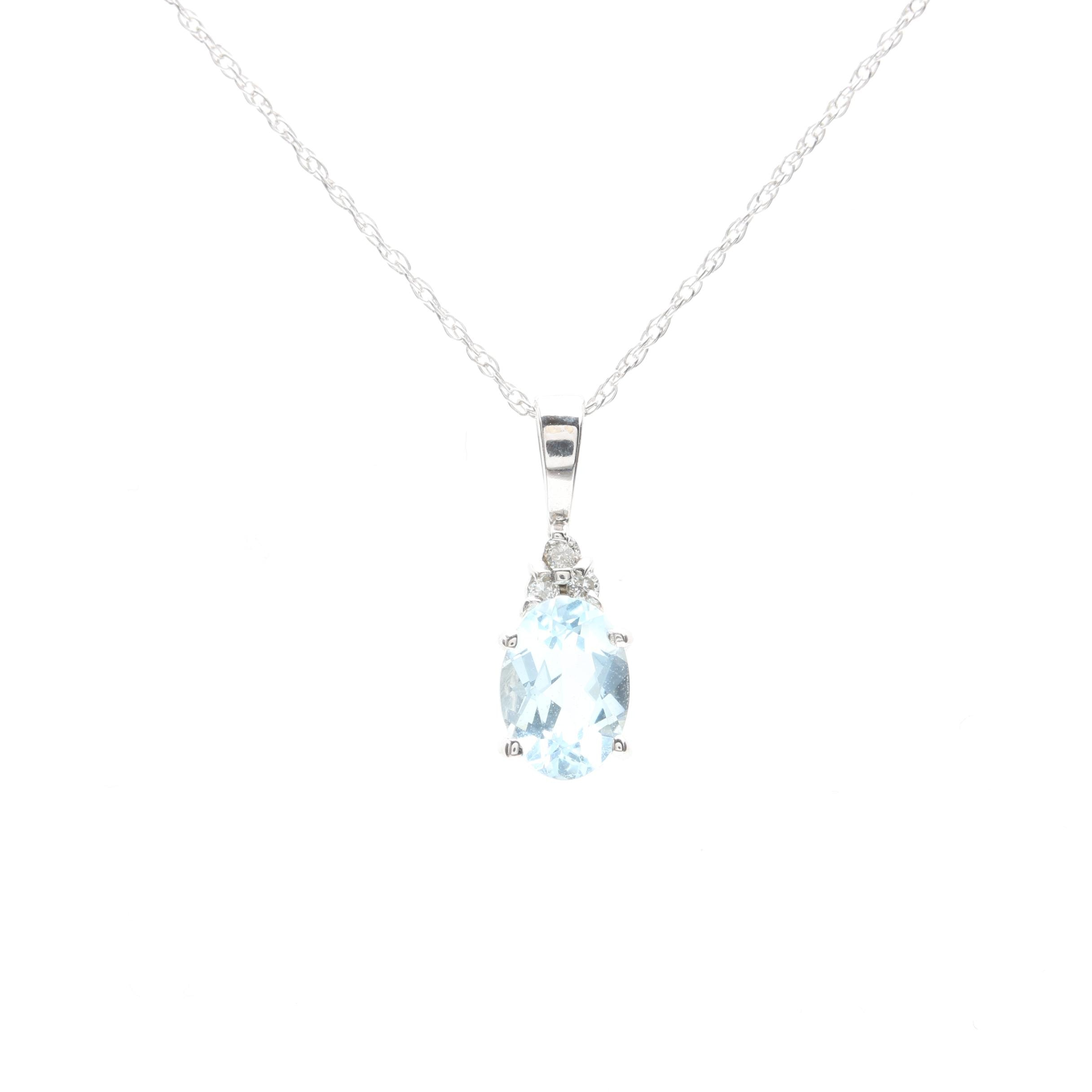10K White Gold Aquamarine and Diamond Pendant Necklace