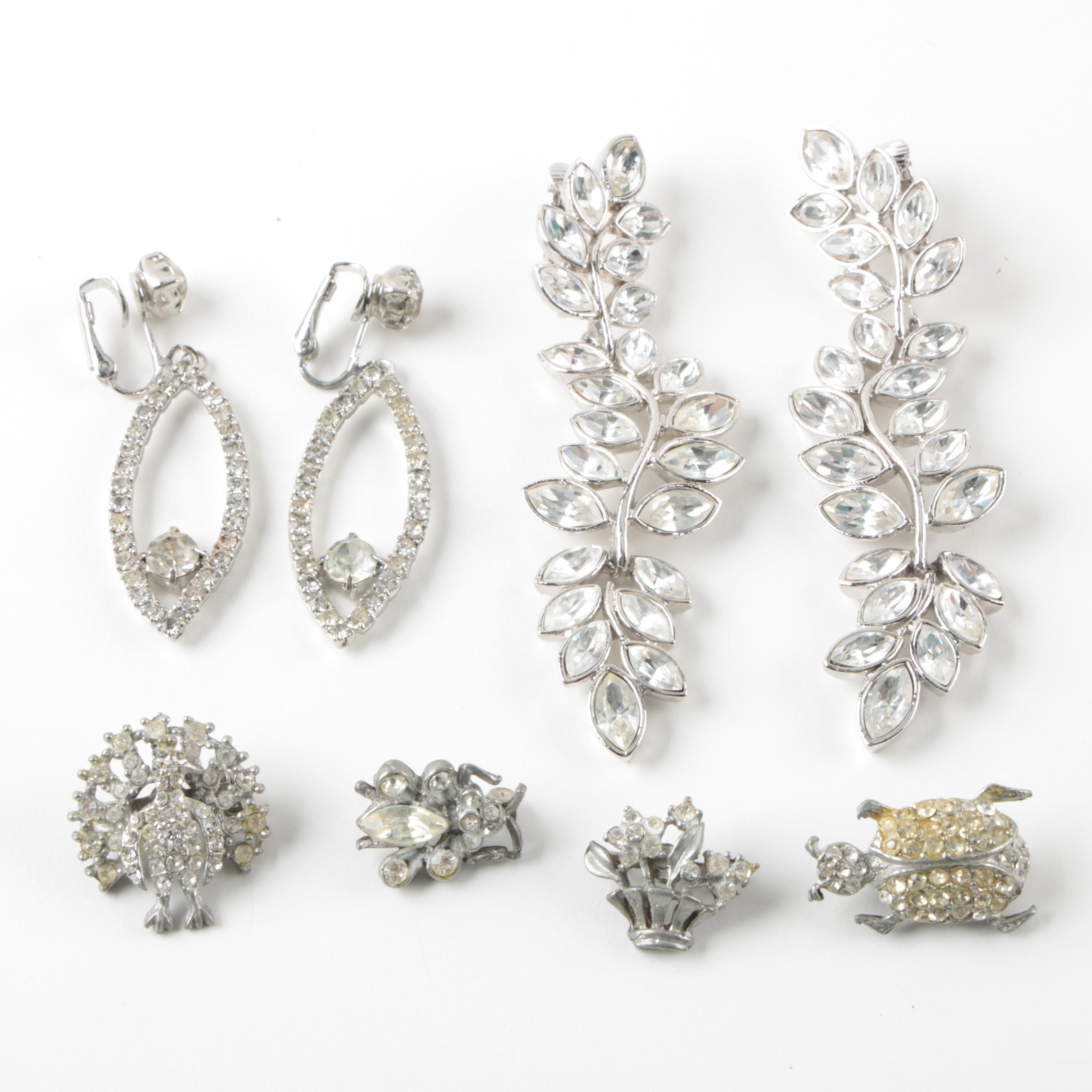 Silver Tone Foilback Earrings and Brooches Includes Kenneth Lane