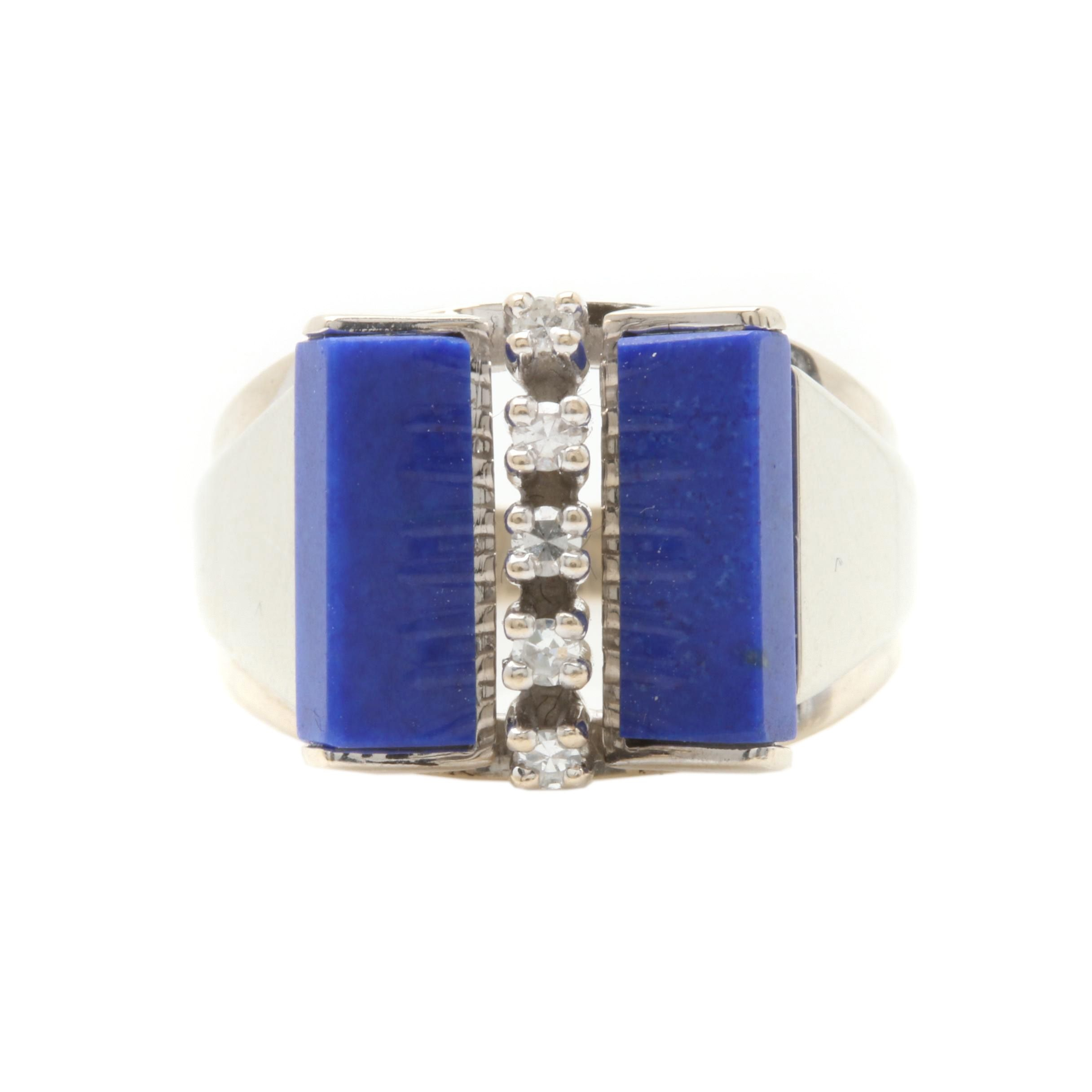 14K White Gold Diamond and Synthetic Lapis Lazuli Ring