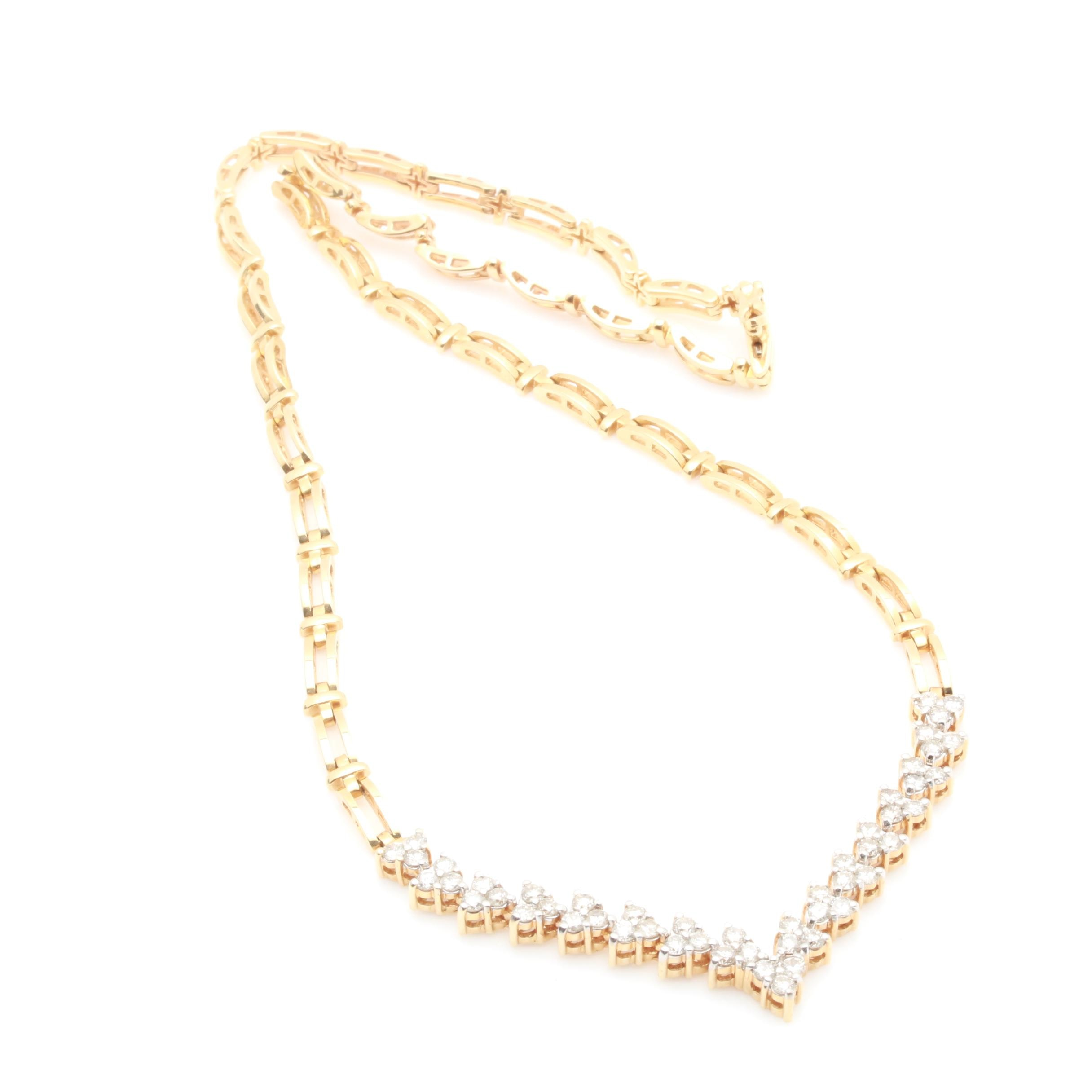 14K Yellow Gold 3.06 CTW Diamond Necklace