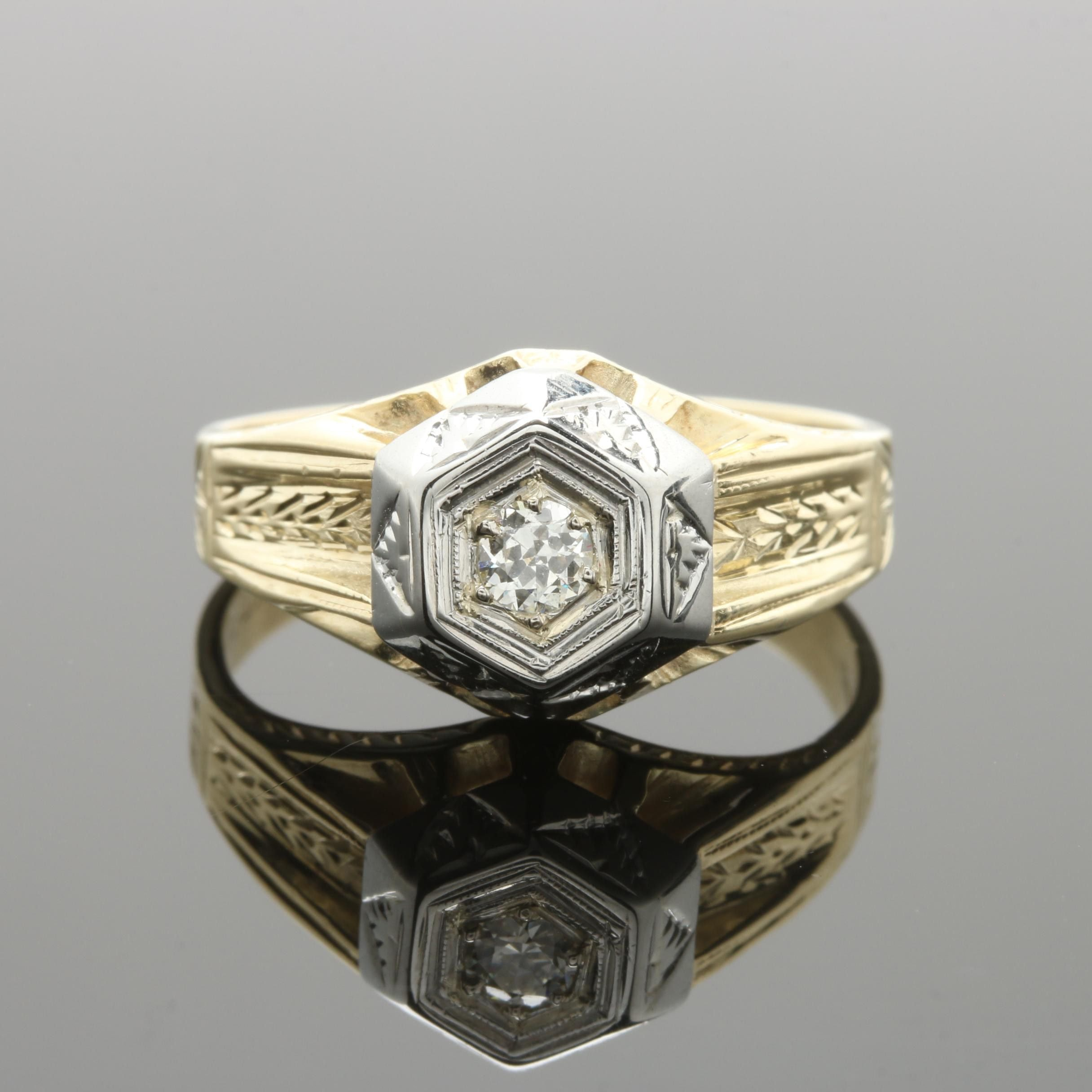 14K and 18K Two-Tone Gold Diamond Ring