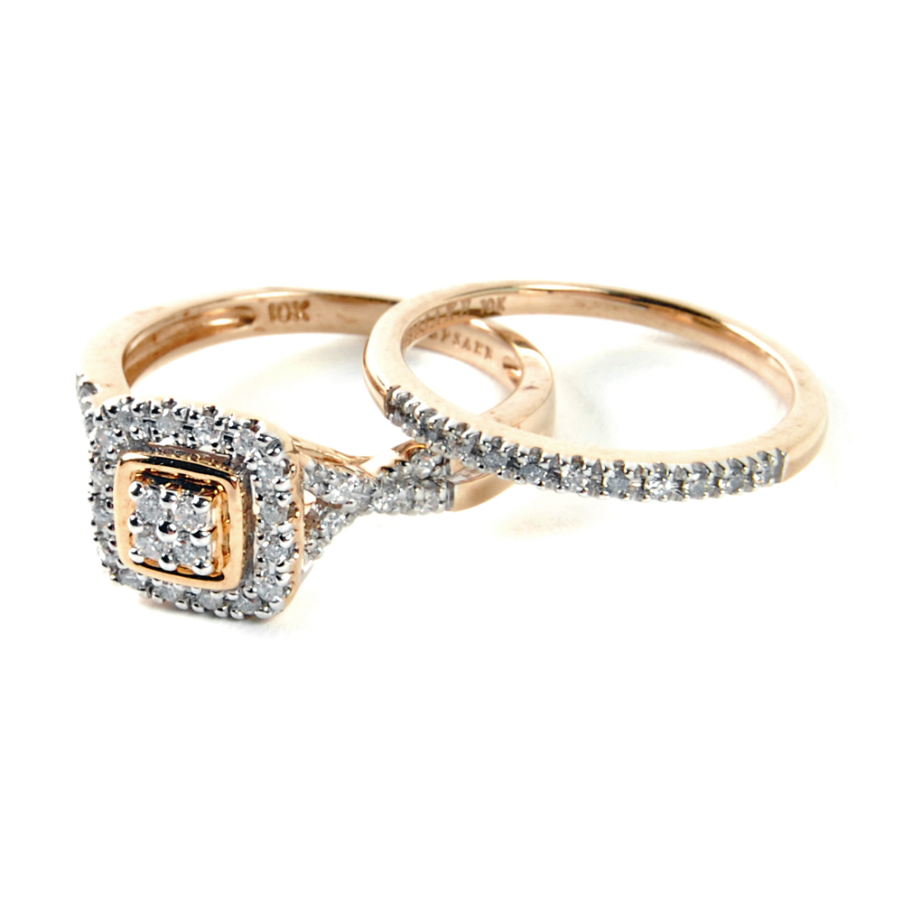 10K Yellow Gold Diamond Keepsake Wedding Ring Set EBTH