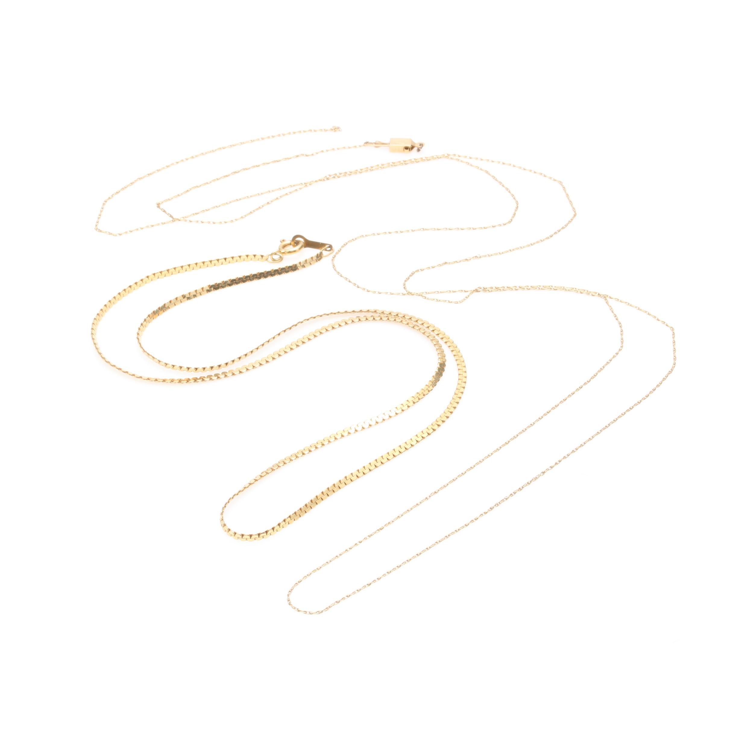14K Yellow Gold C-Link Necklace with Scrap Chain