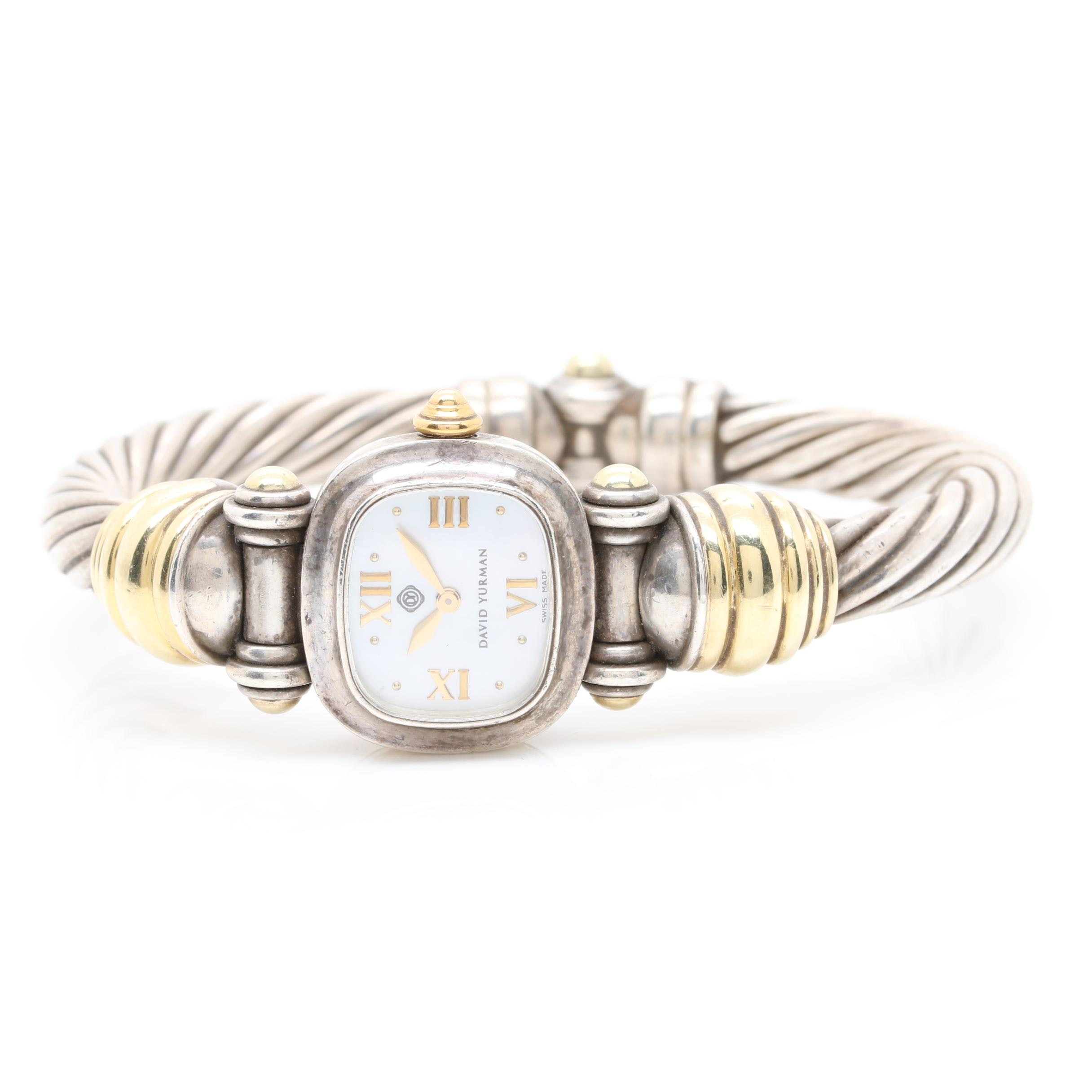 David Yurman Sterling Silver Wristwatch with 14K Yellow Gold Accents