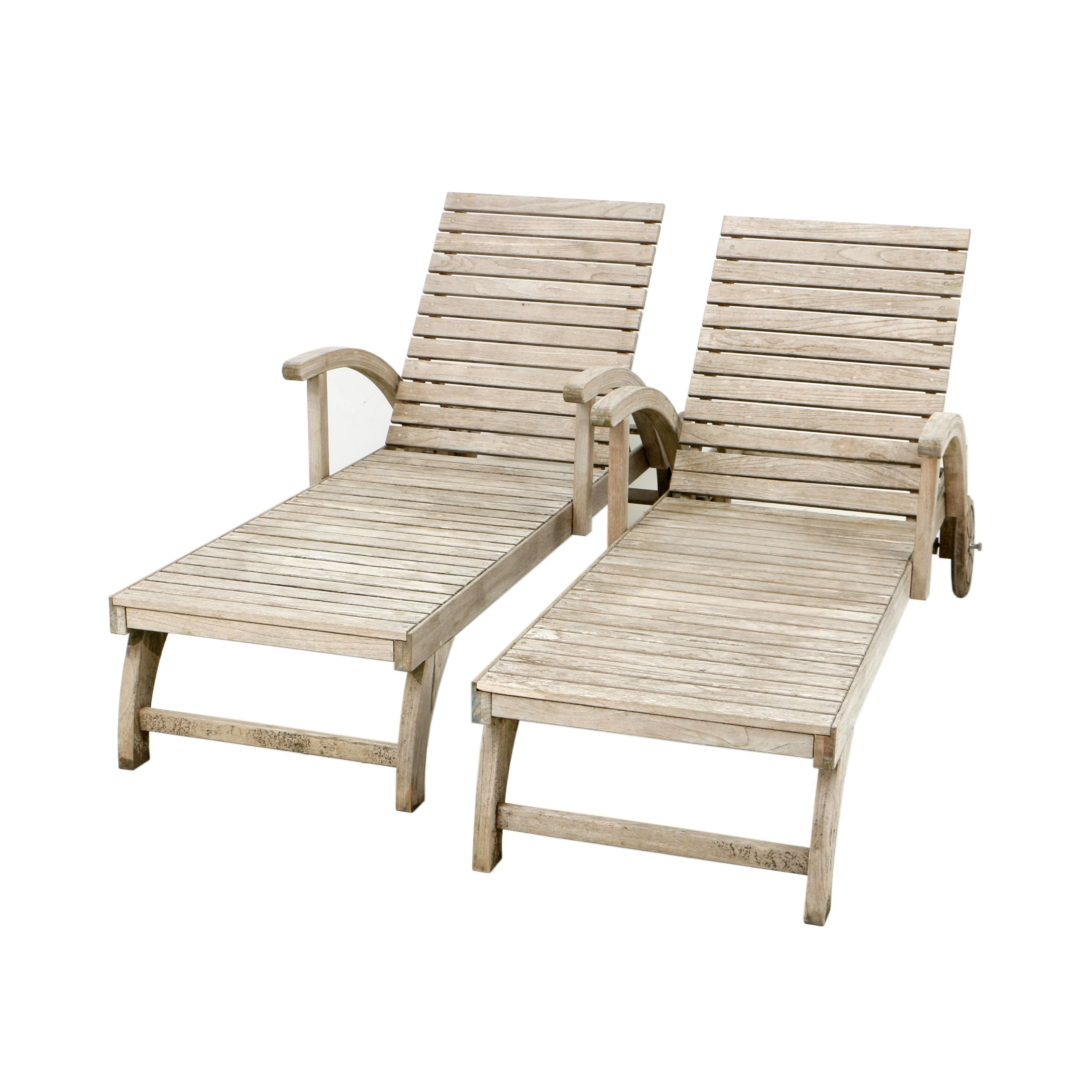 Teak Patio Chaise Lounges by Wood Classics