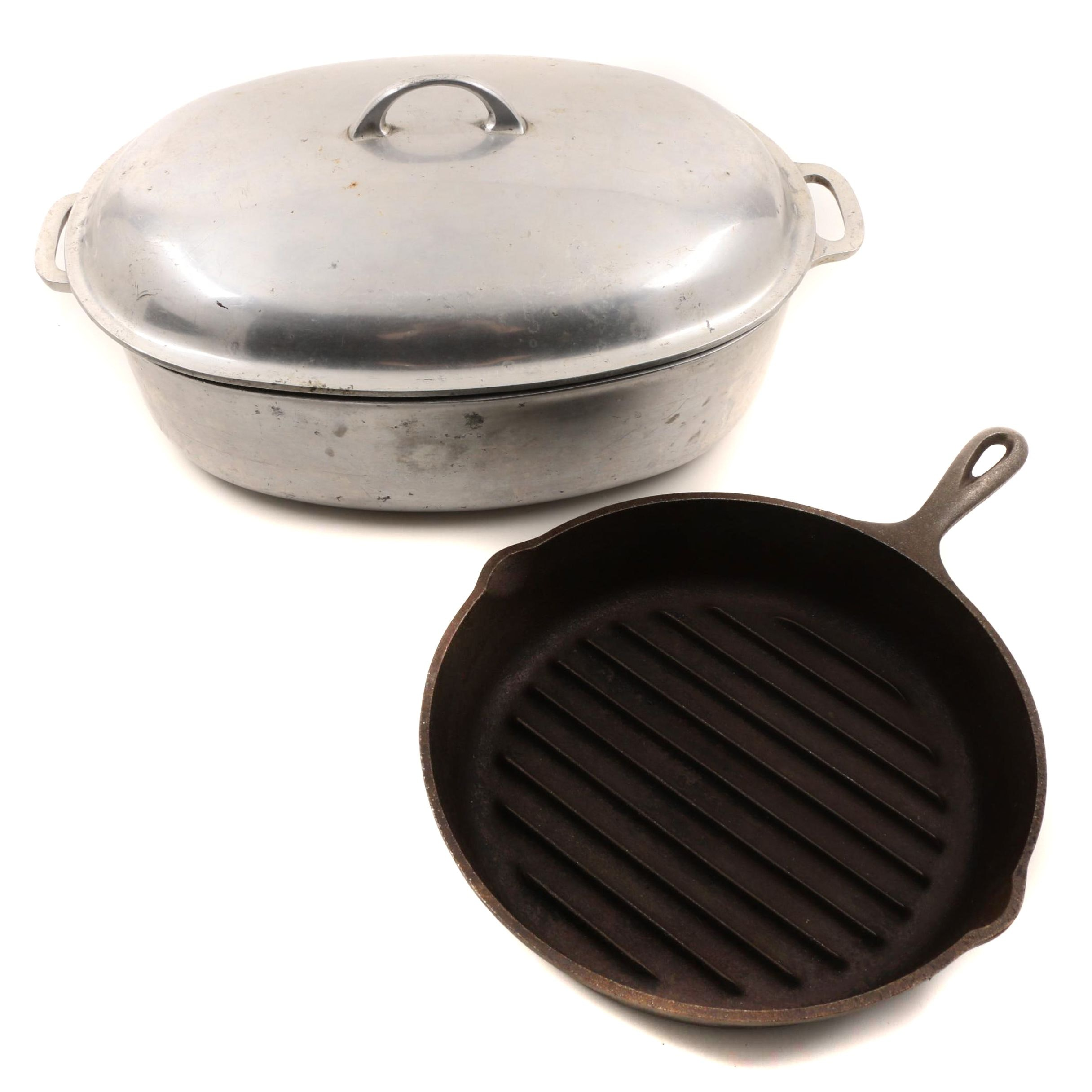 Griswold Oval Roasting Pan with Lid and Lodge Cast Iron Skillet