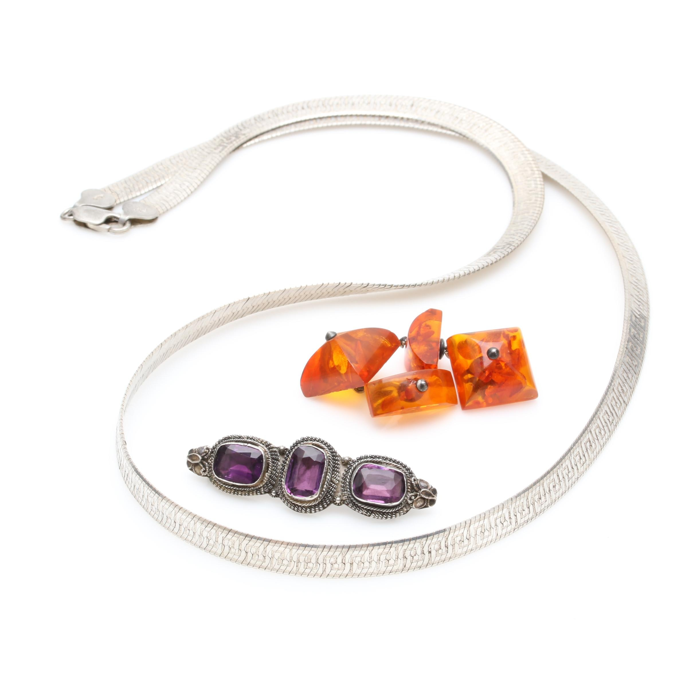 Sterling Silver and 875 Silver Amber and Glass Necklace, Brooch and Cufflinks