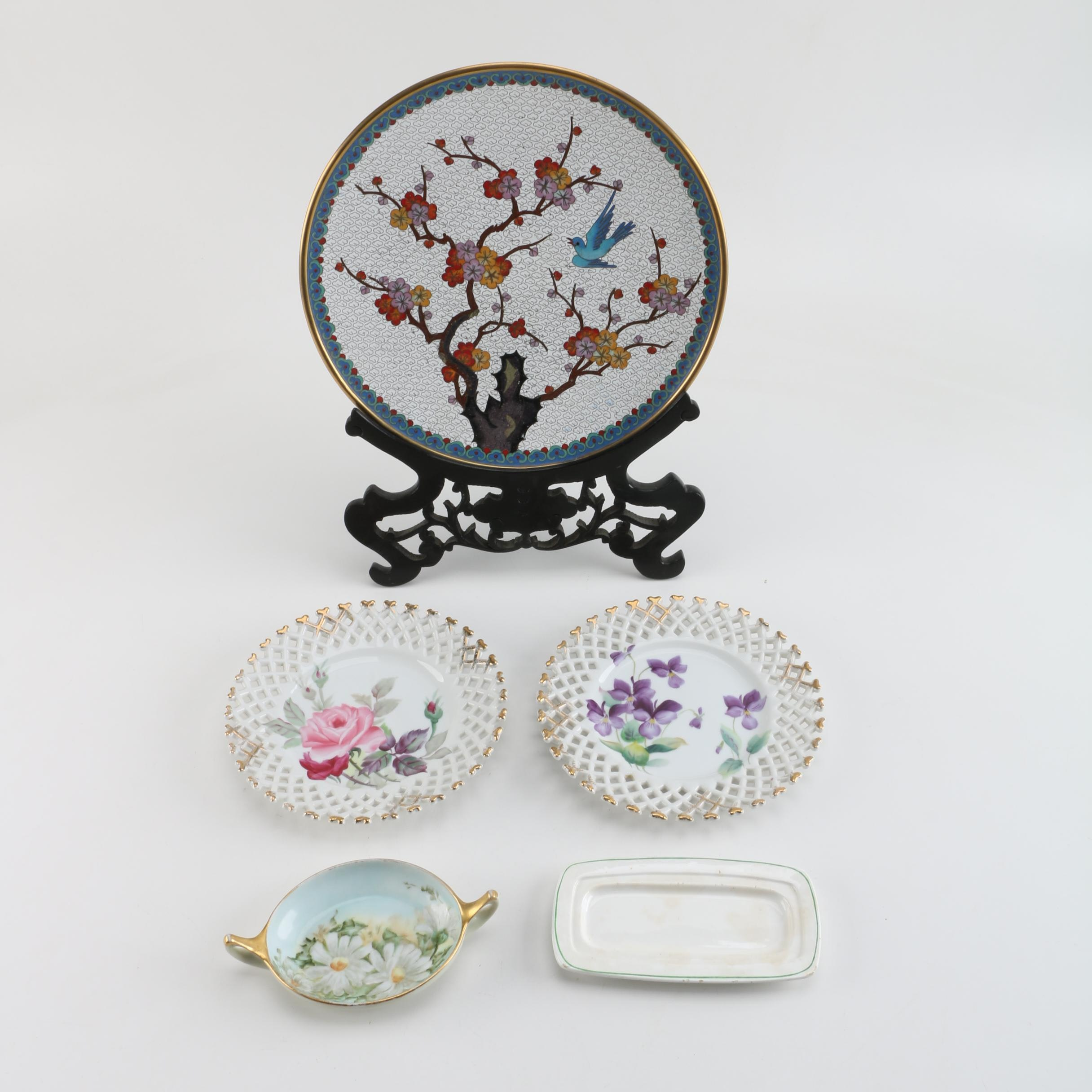 Chinese Cloisonné Plate with Lefton and Hobbyist Painted Porcelain