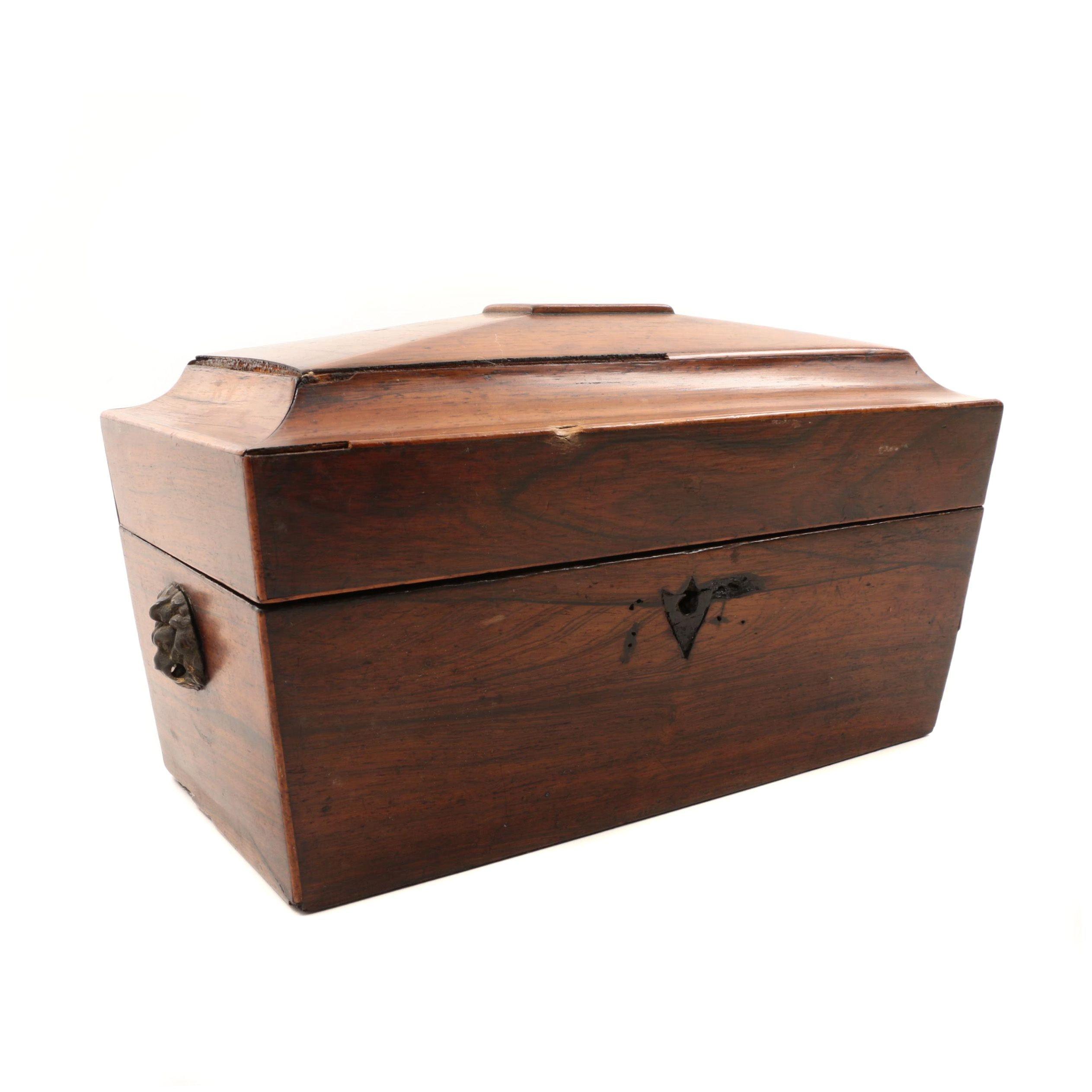 Antique English Regency Rosewood Tea Caddy