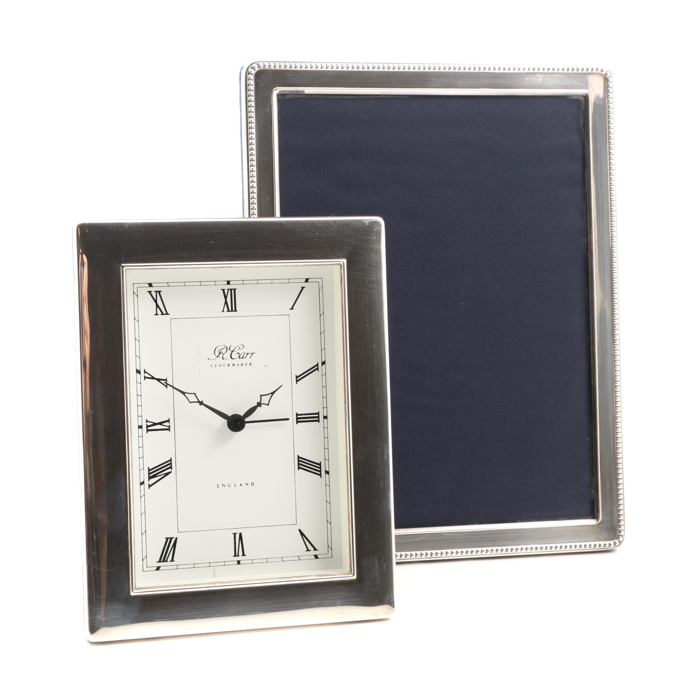 Carr's of Sheffield British Sterling Silver Picture Frame and Desk Clock