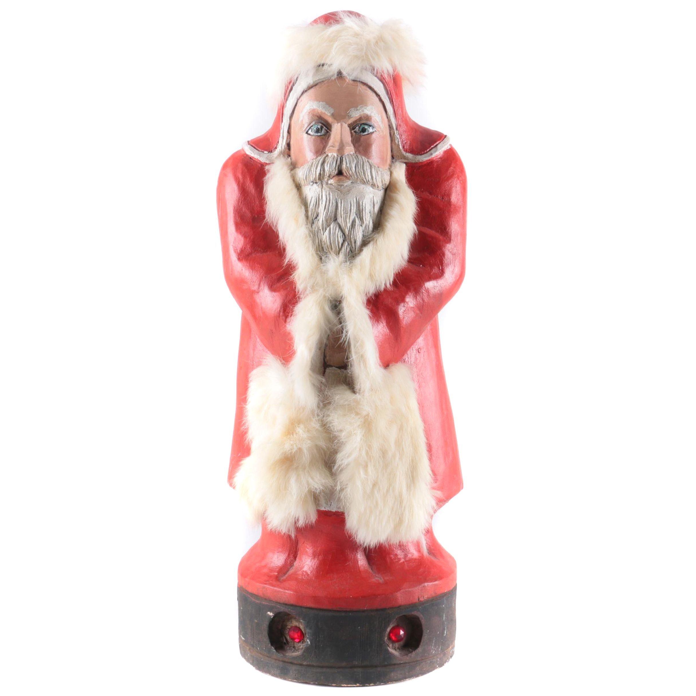 Vintage Hand Carved Wooden Santa with Fur Trim