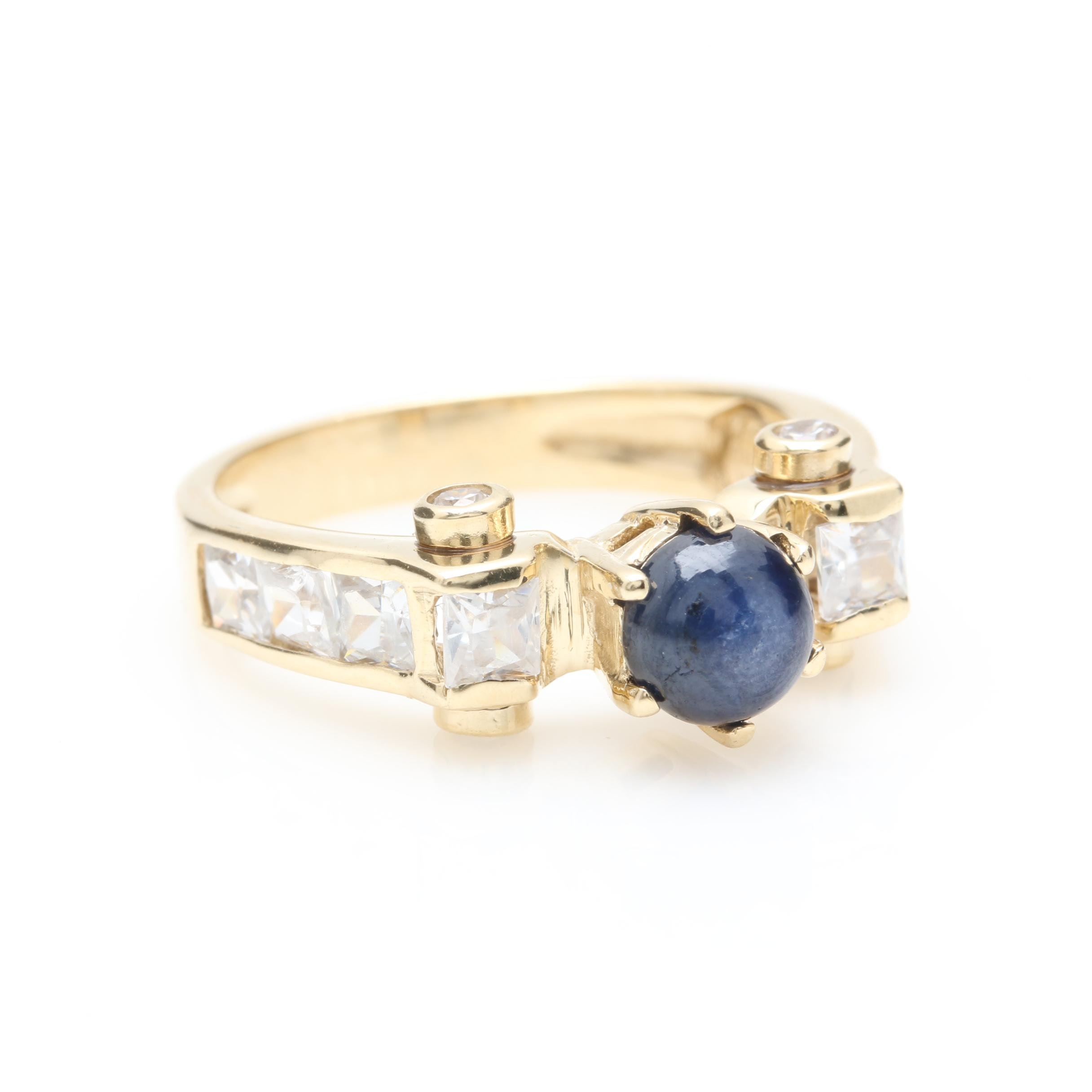 14K Yellow Gold Star Sapphire and Cubic Zirconia Ring