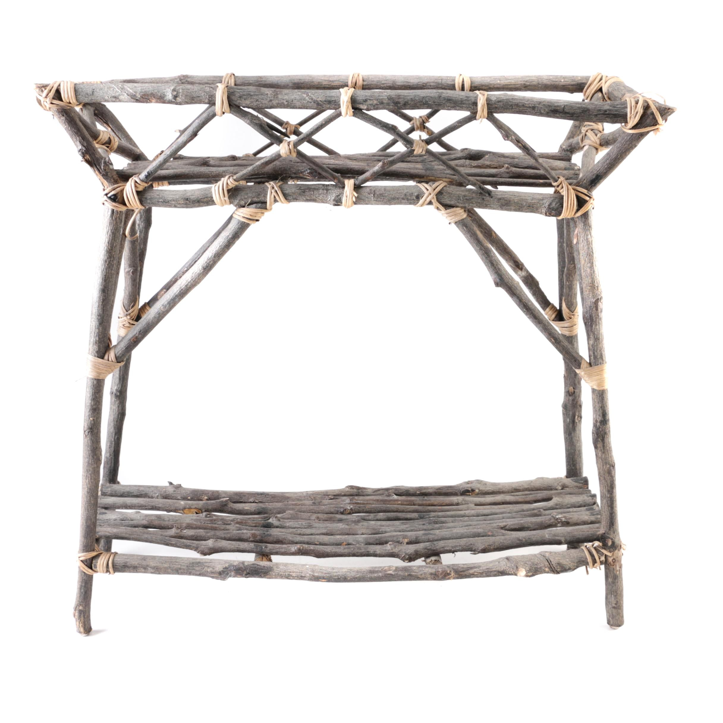 Rustic Willow Branch Plant Stand