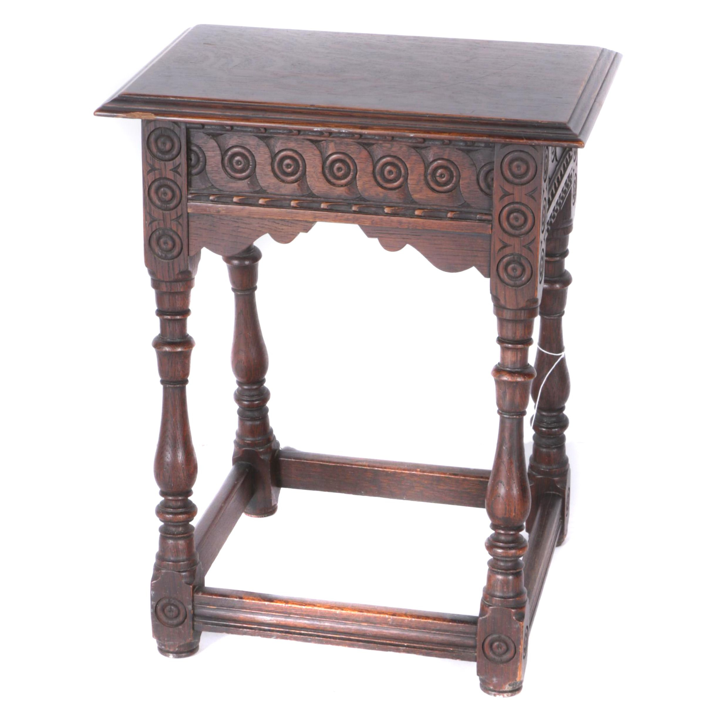 Vintage Jacobean Revival Style Carved Oak Side Table
