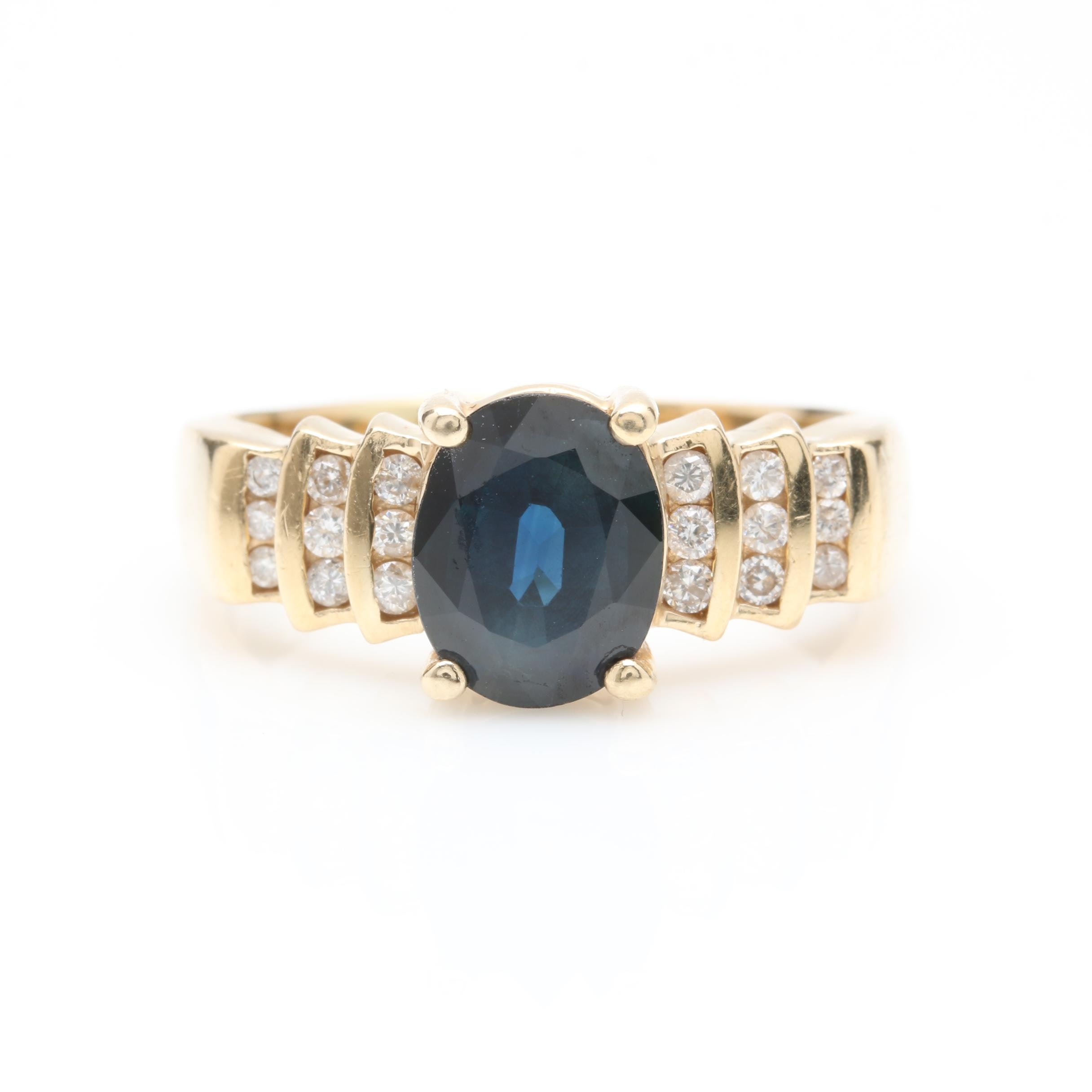 Effy 14K Yellow Gold 2.83 CT Blue Sapphire and Diamond Ring