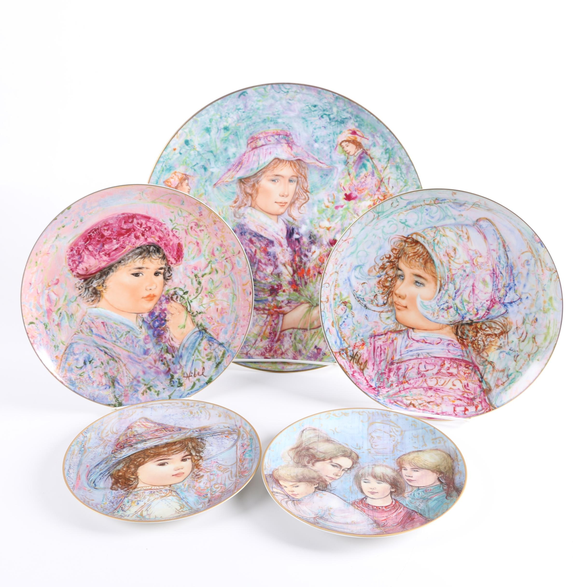 "Edna Hibel Limited Edition Commemorative Plates Including ""Nobility of Children"""