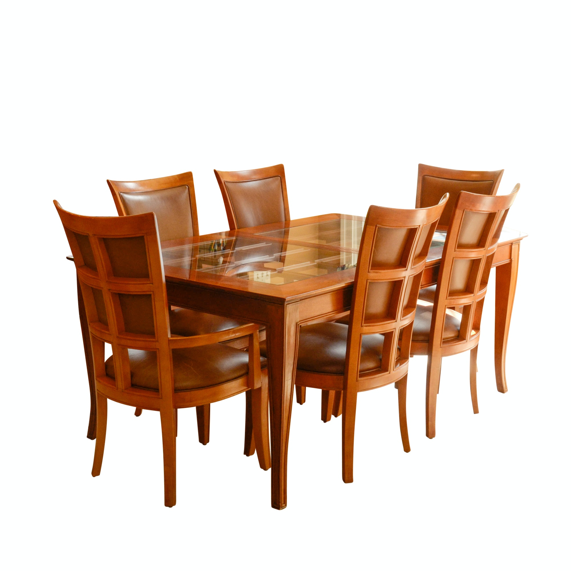 Contemporary Glass Top Dining Table with Six Chairs by Stanley Furniture