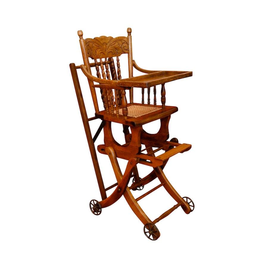 Antique Victorian Oak Convertible Stroller High Chair ... - Antique Victorian Oak Convertible Stroller High Chair : EBTH