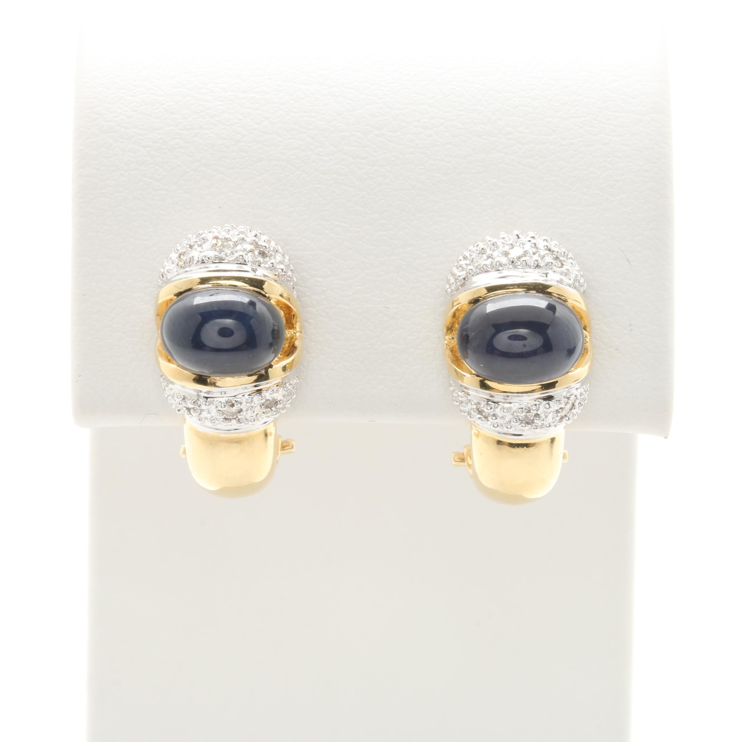 18K Yellow Gold Star Sapphire and Diamond Earrings