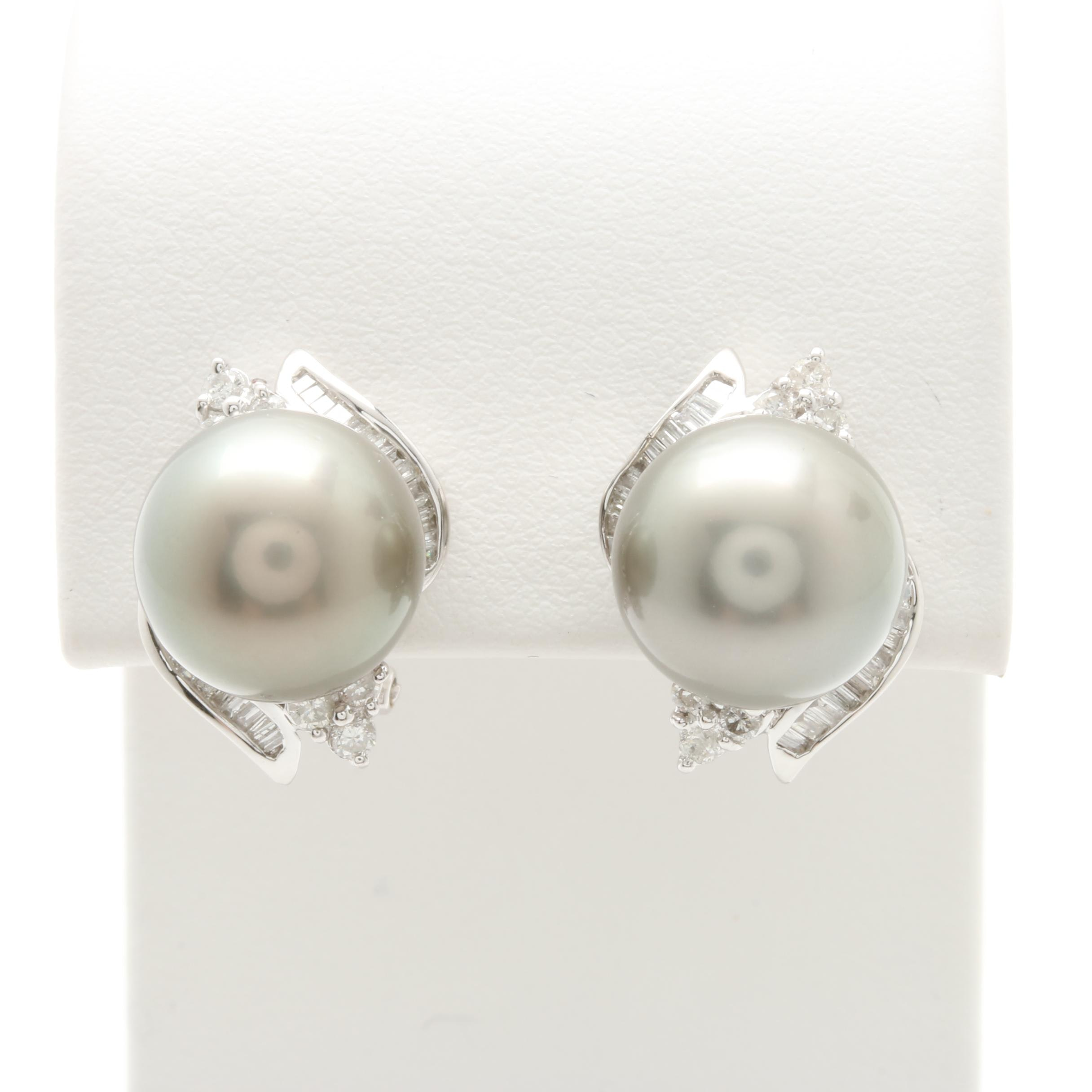 14K White Gold Cultured Pearl and Diamond Stud Earrings With 10K Gold Findings