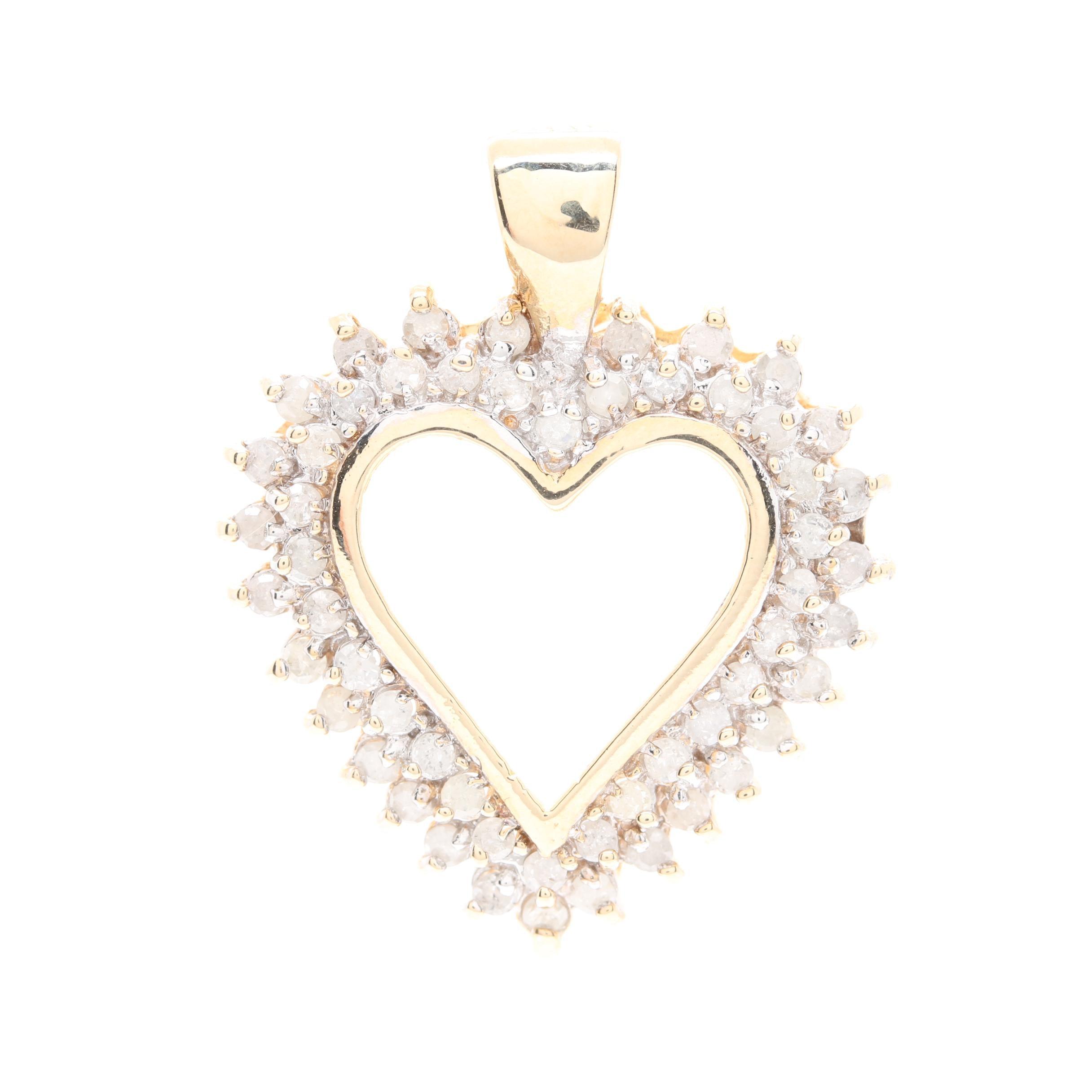 10K Yellow Gold 0.95 CTW Diamond Open Heart Pendant