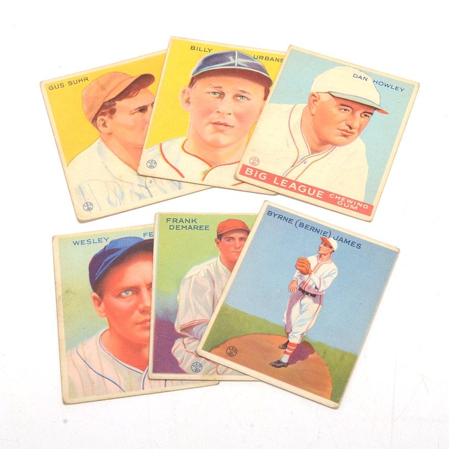 Six 1933 Goudey Gum Baseball Cards