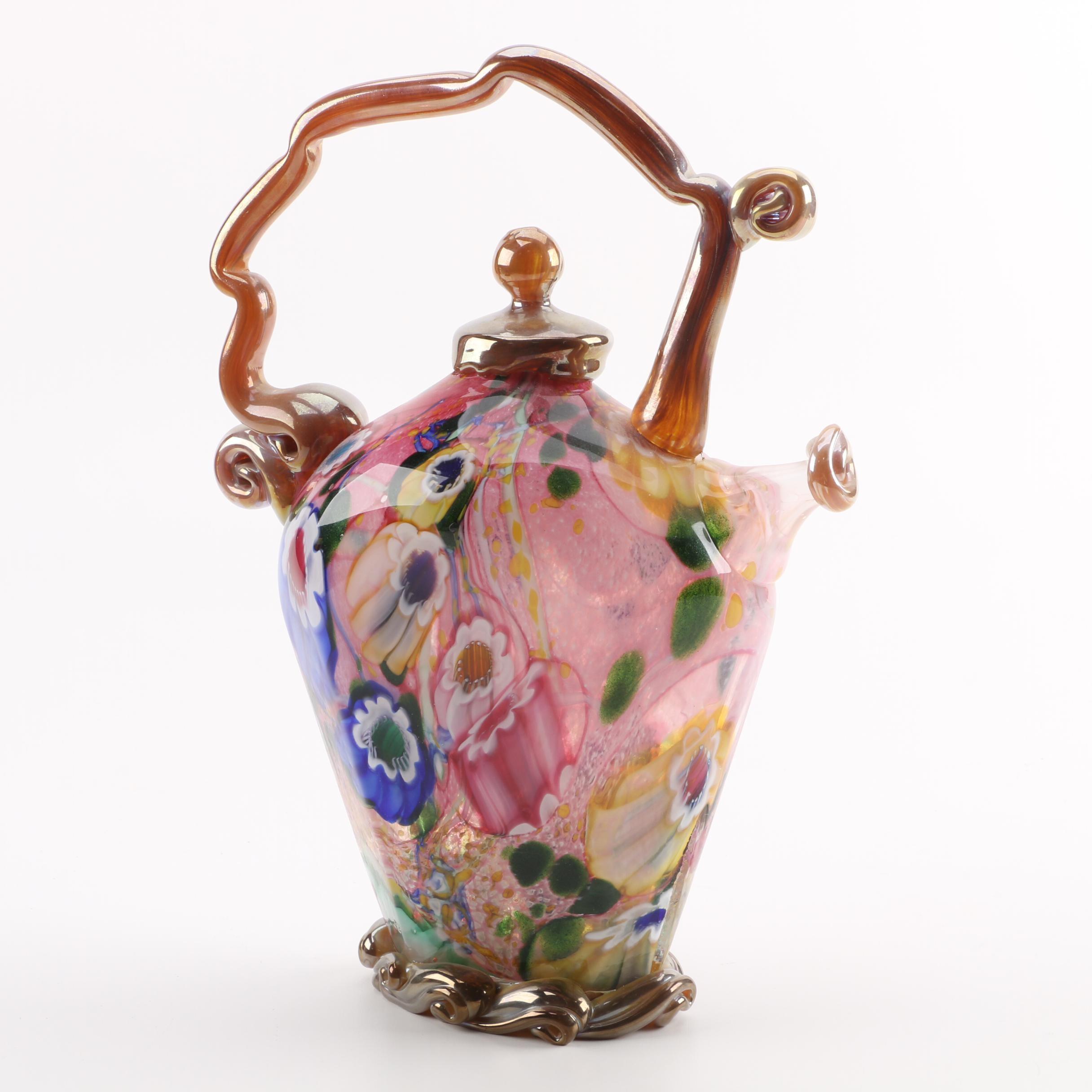 Paul Counts Hand-Blown Mosaic Glass Teapot Sculpture