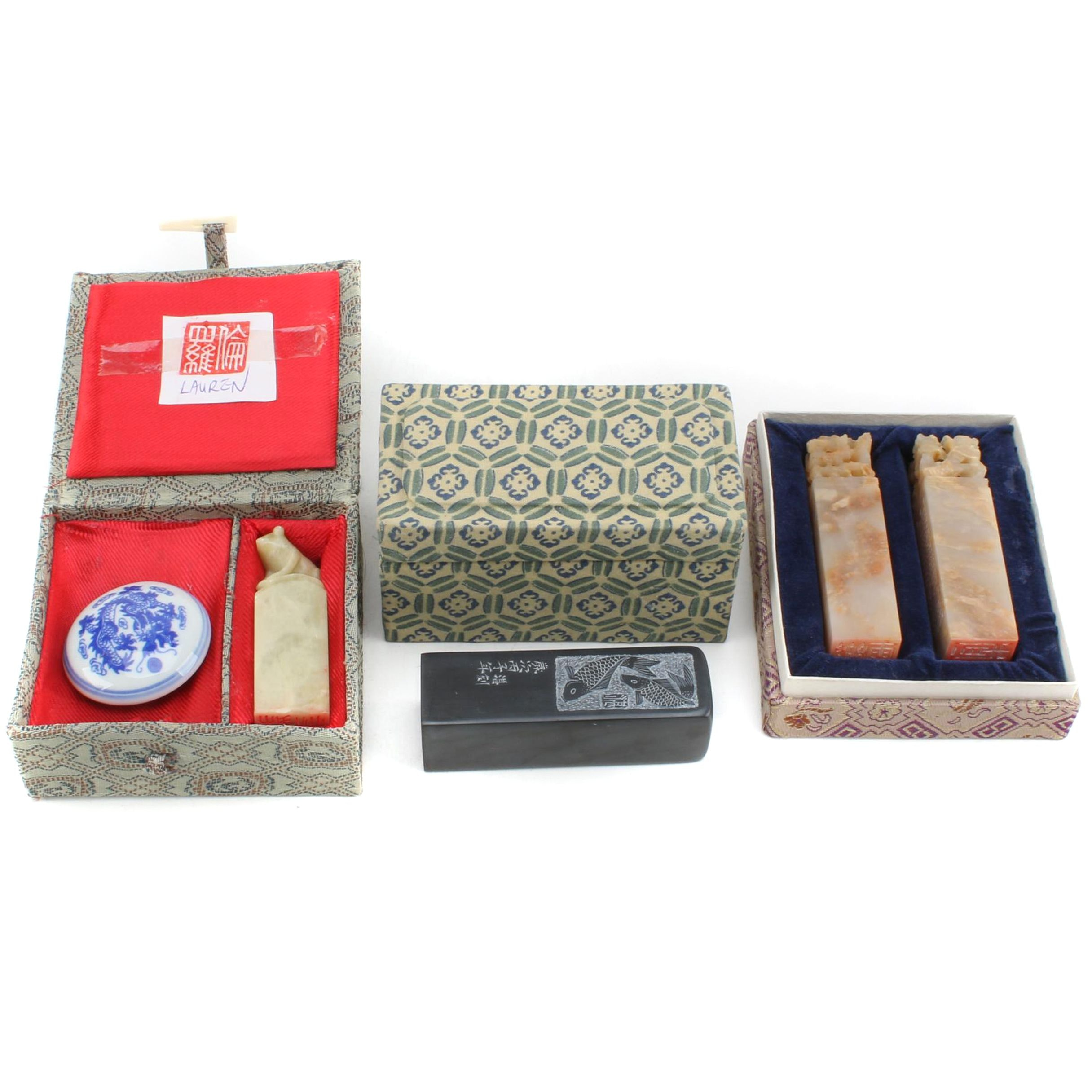 Chinese Carved Soapstone Stamps with Red Paste Ink