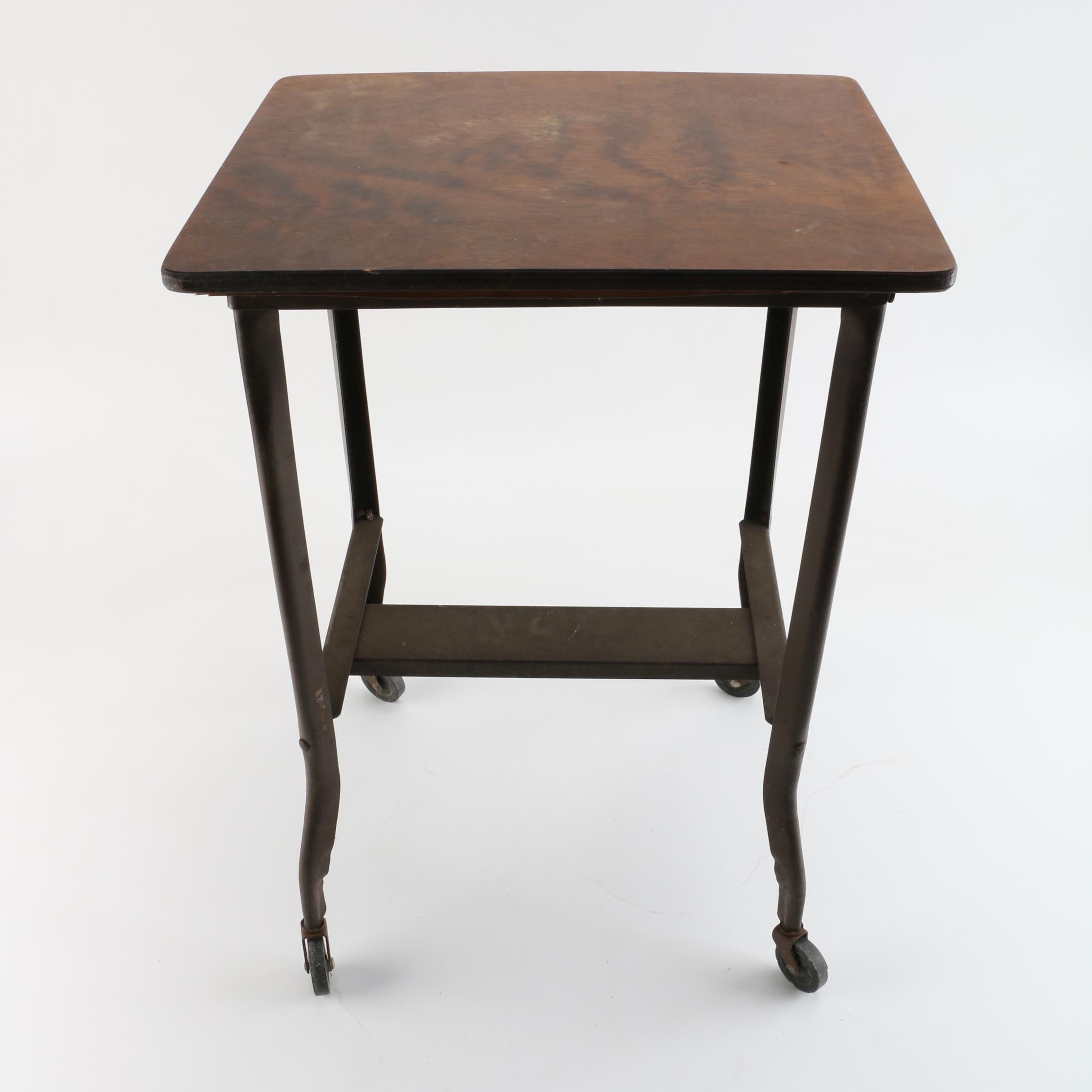 Mid-20th Century Industrial Typewriter Table with Casters
