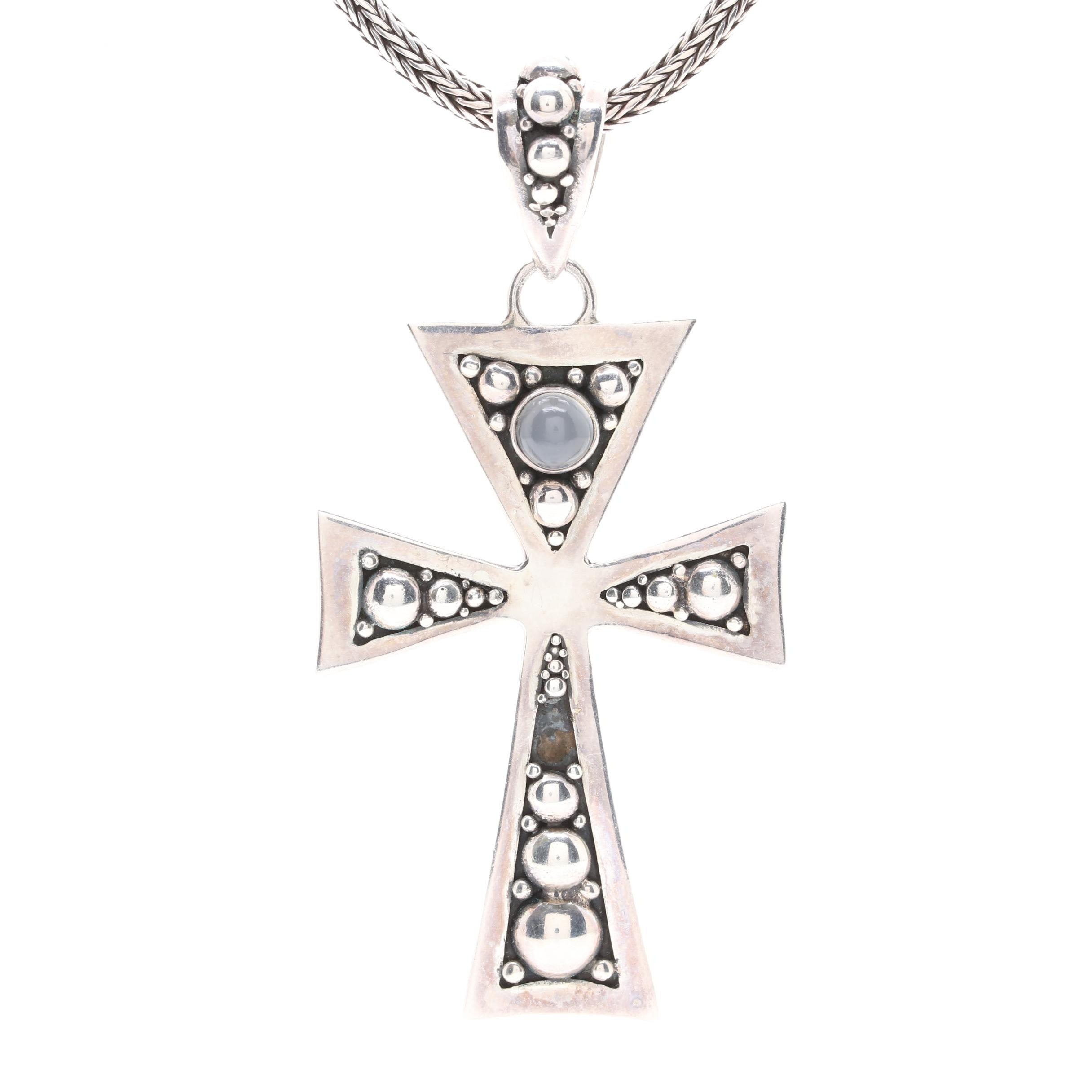 Suarti of Bali Sterling Silver Moonstone Cross Pendant Necklace