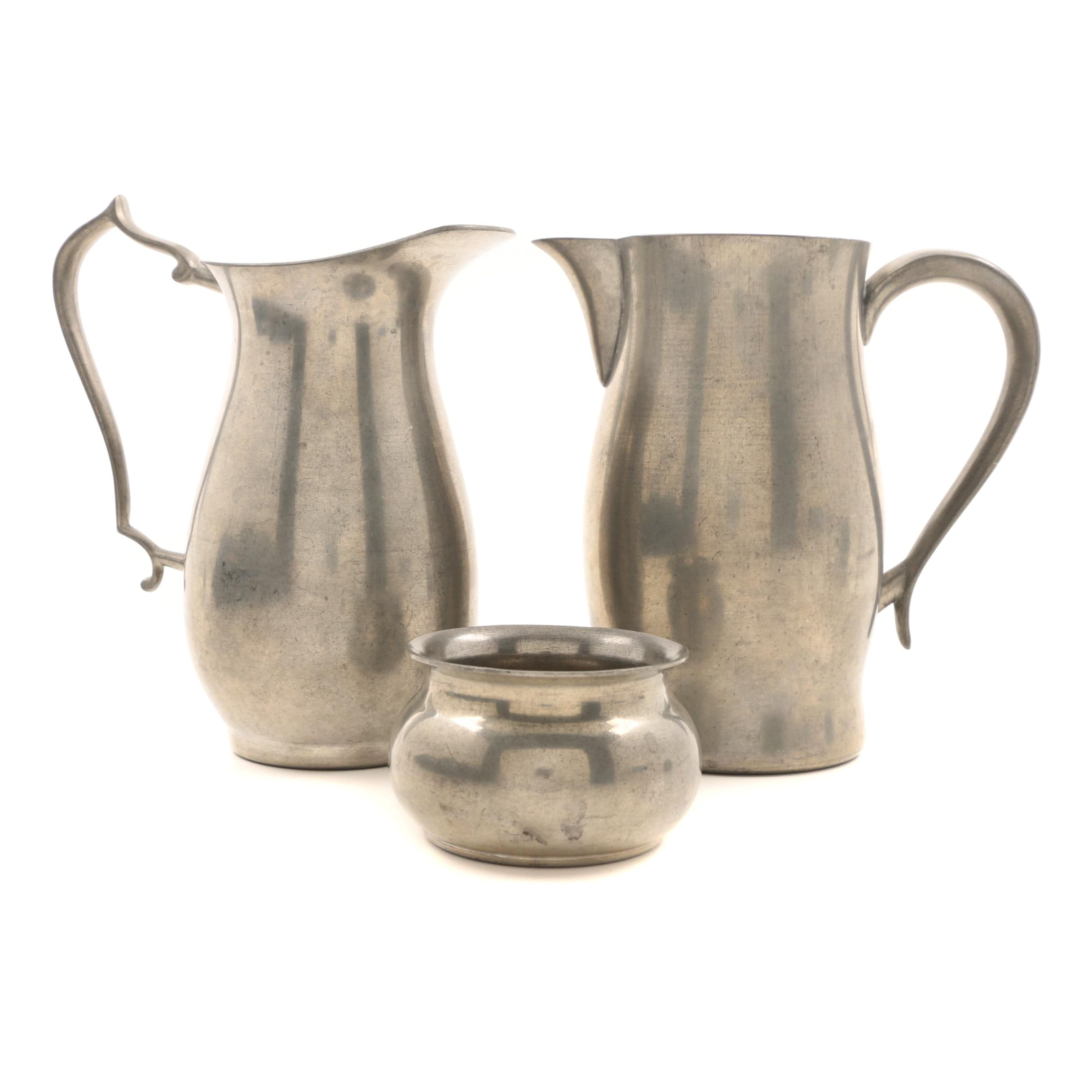 Woodbury Pewter Pitchers and Pot