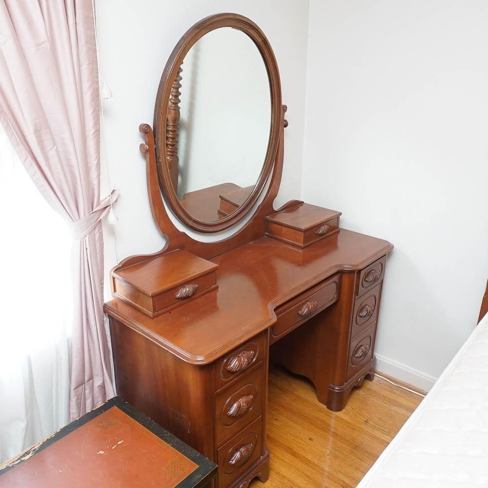 Victorian Style Walnut Vanity with Mirror